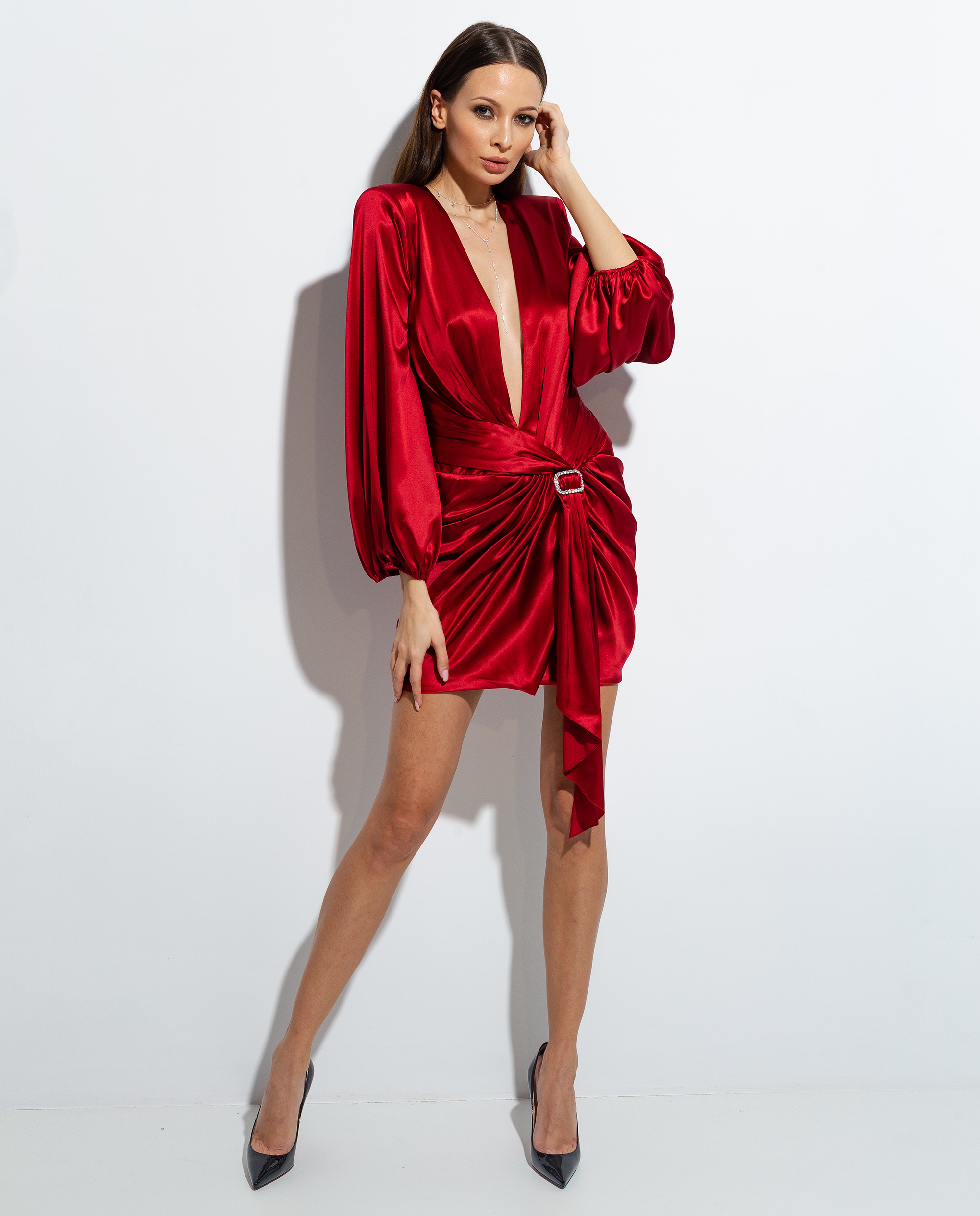 czerwona welurowa sukienka alexandre vauthier 201DR1230 0145 CURRANT