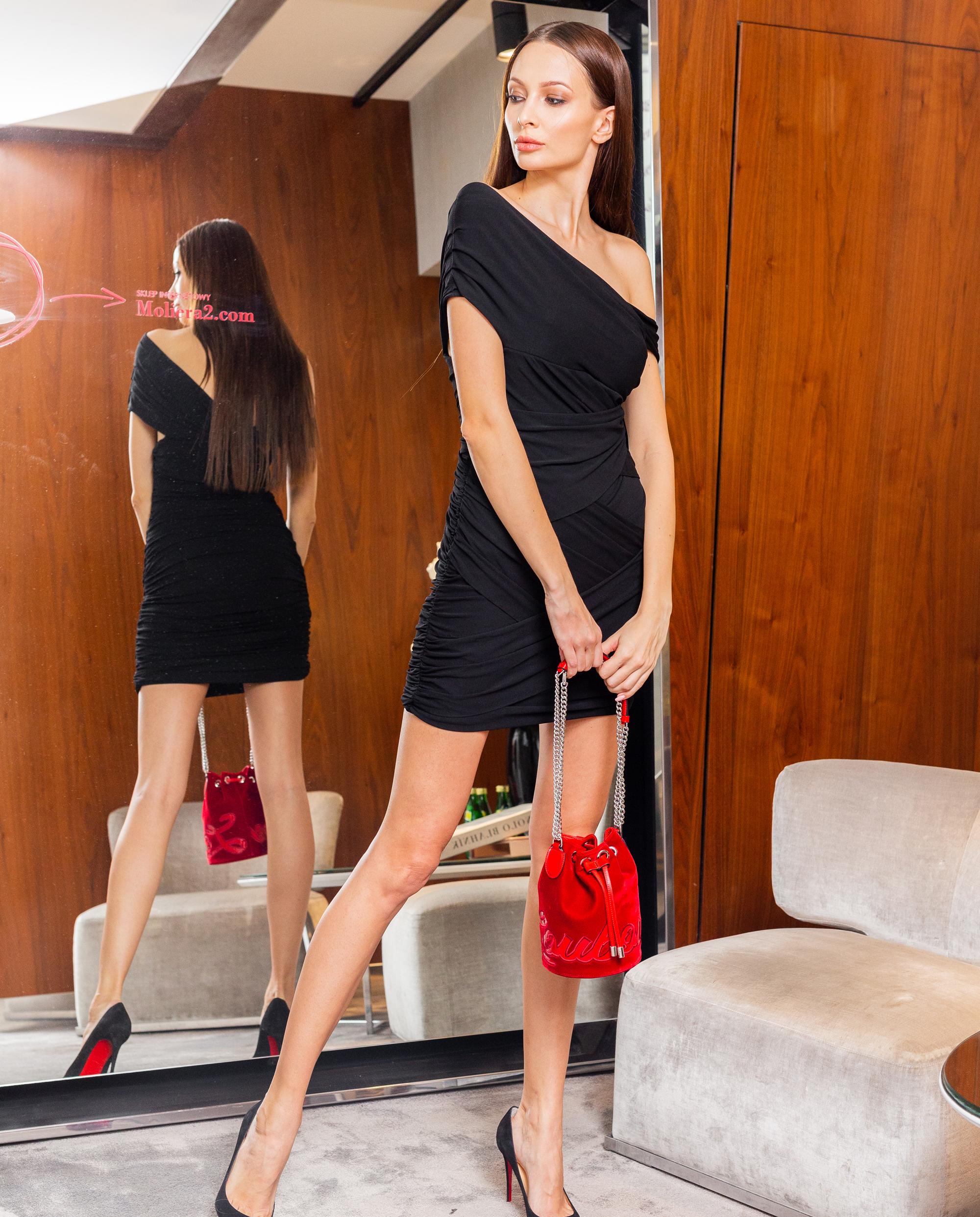 czarna sukienka herve leger mała czarna 46HLT8210608-001