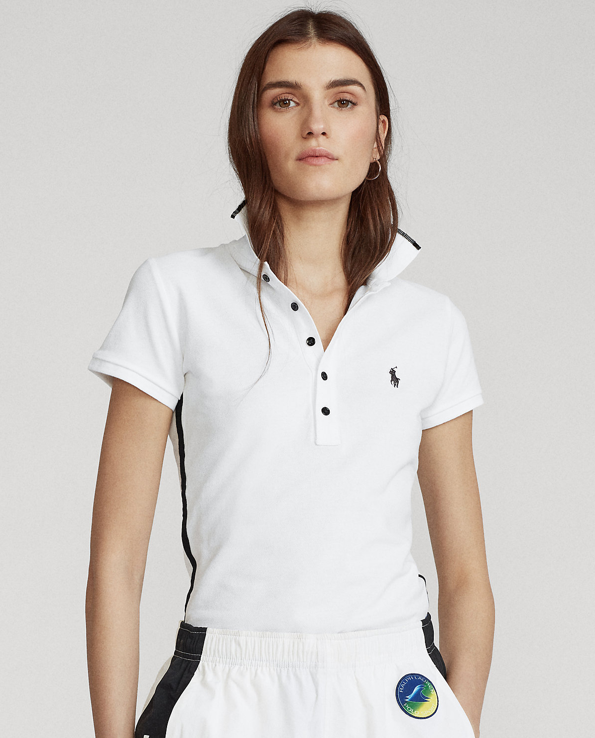 damska biała koszulka polo slim fit polo ralph lauren 211792457001