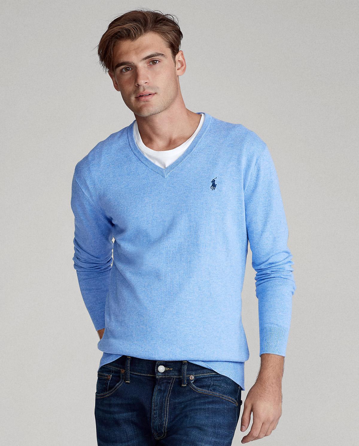 męski niebieski sweter z bawełny polo ralph lauren 710744677020