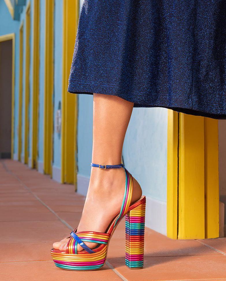 Tęczowe sandały na platformie Sundance Plateau Aquazzura SUDHIGS0-MLM-MUL