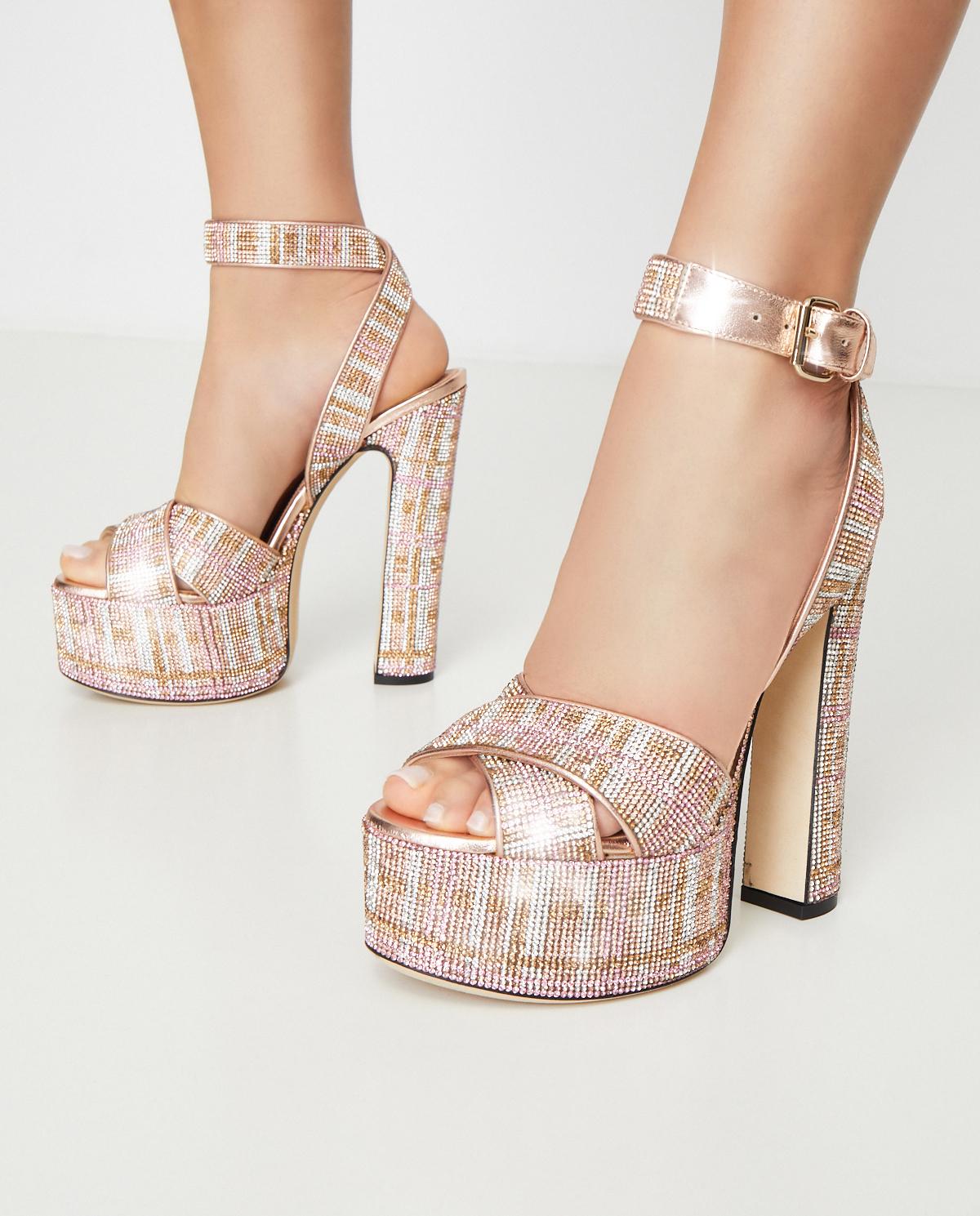 Sandały na platformie z kryształami Marco de Vincenzo MXV346 040