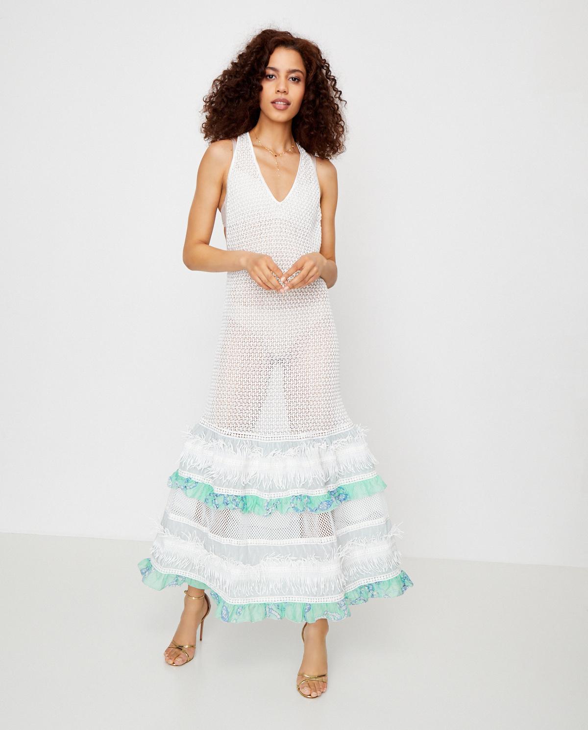 Sukienka z miętową falbaną Chio CA2009.MI MINT