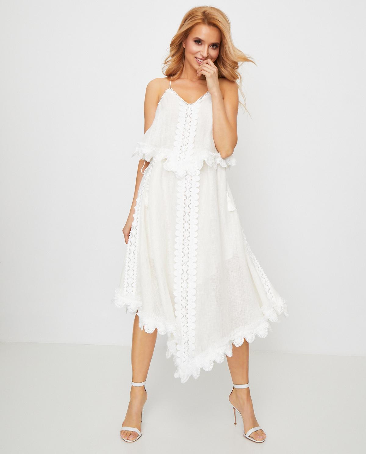 Damska biała sukienka Better Still Ixiah 92-80480 WHITE
