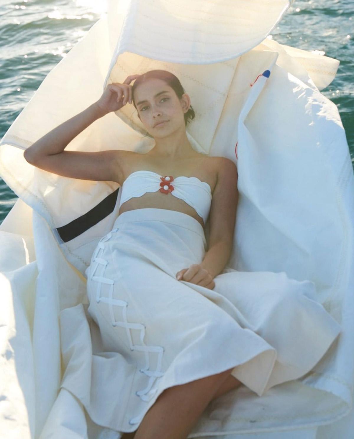 Biały top od bikini Antibes Marysia Swim ST139 COCONUT