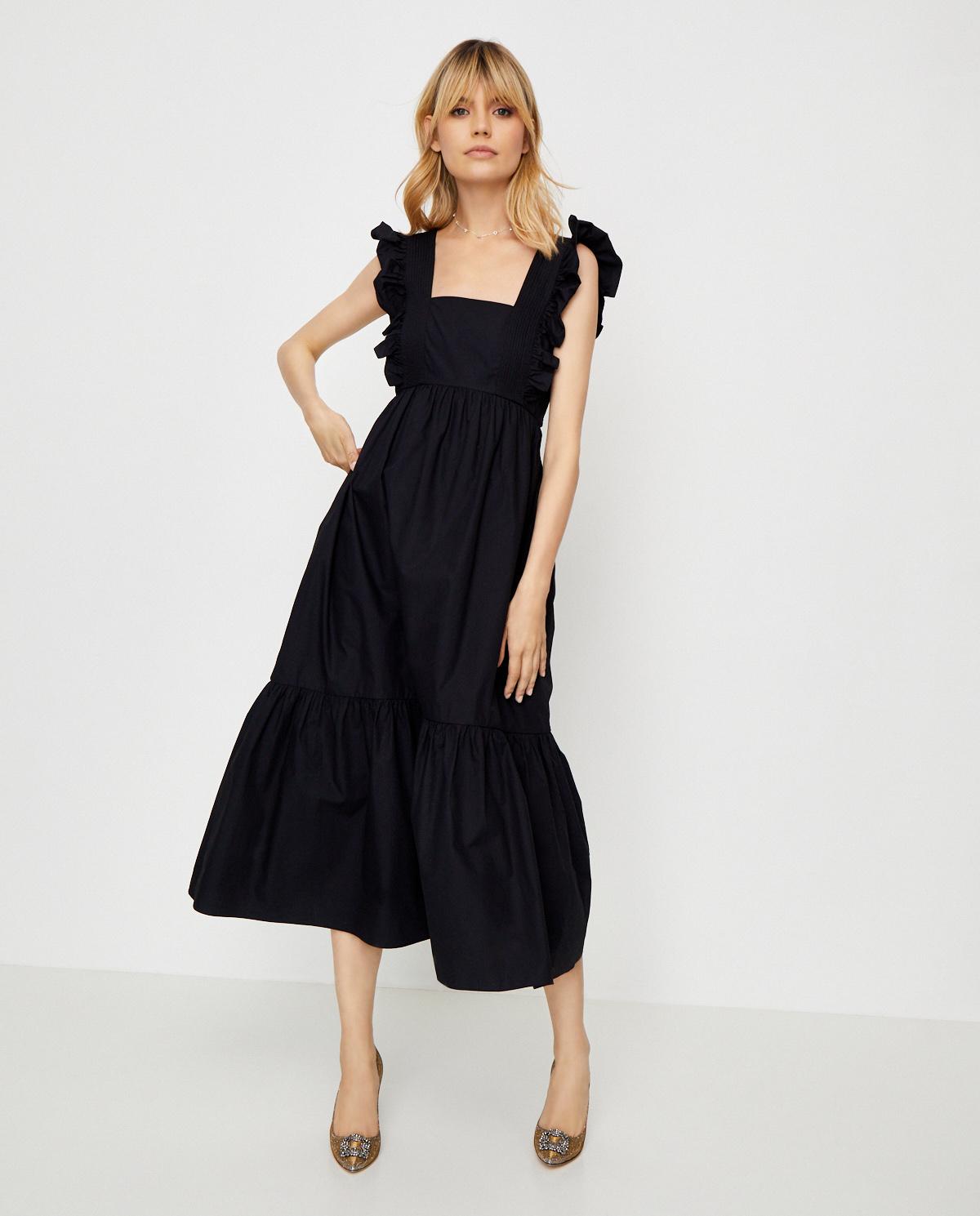 Czarna sukienka midi z falbanami Self-portrait SS20-014B BLACK