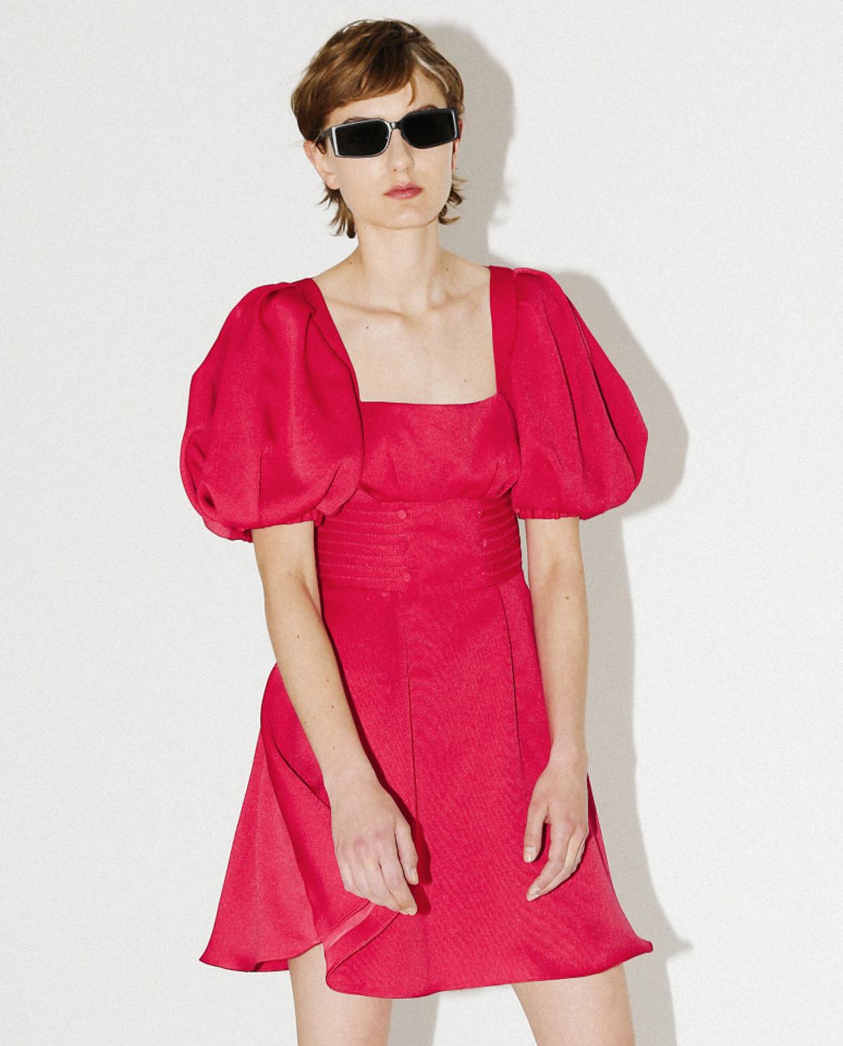 Sukienka z bufiastymi rękawami Self-portrait RS20-071 FUCHSIA