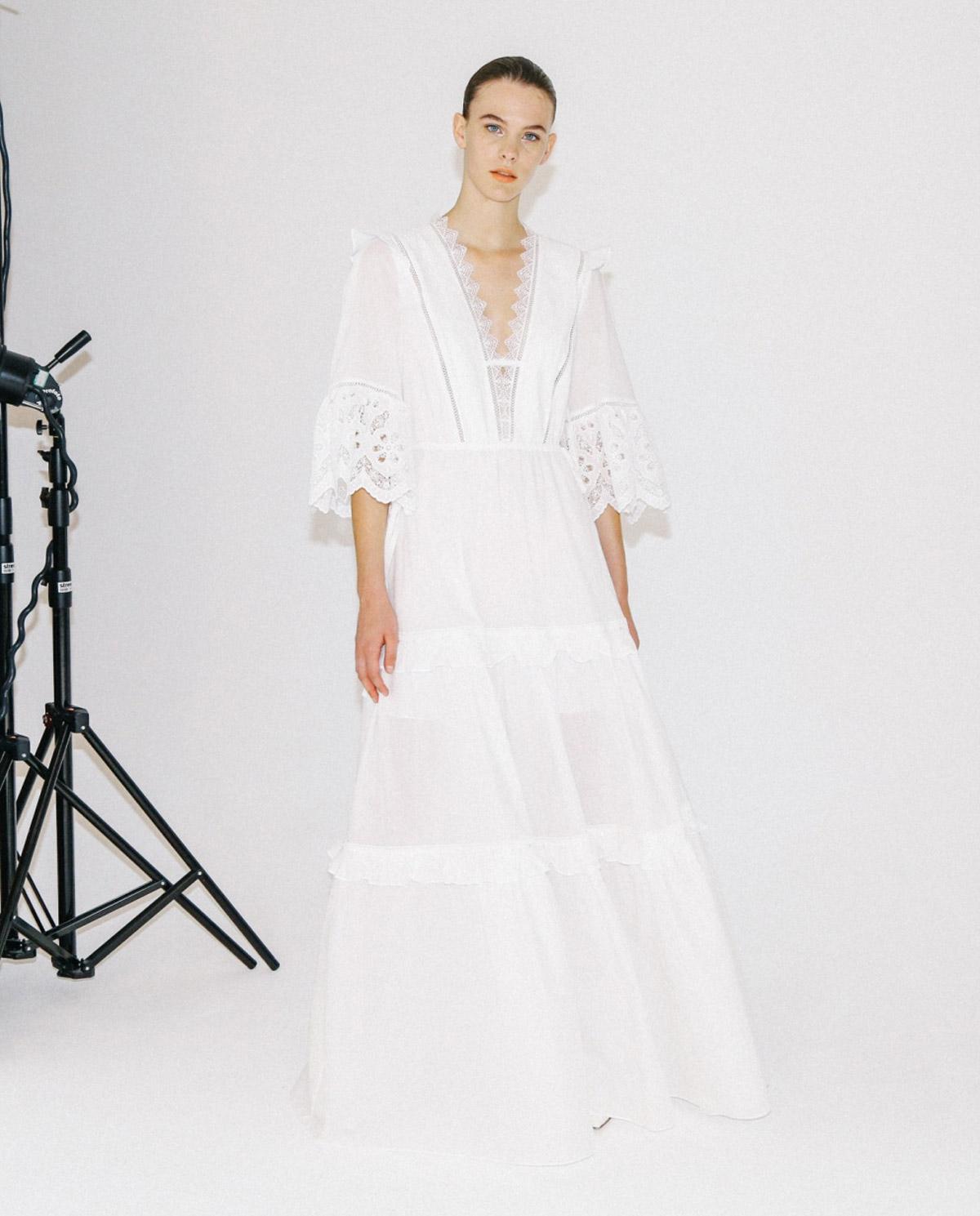Biała sukienka maxi z woalu Self-portrait SS20-051 WHITE