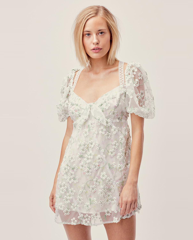 Biała sukienka Eclair Mini For Love & Lemons CD1579-SU19 IVORY FLORAL