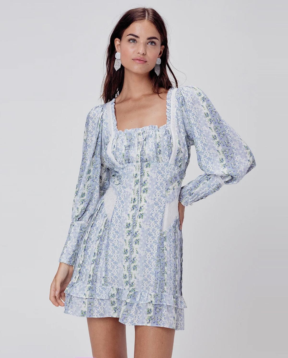 Niebieska sukienka w kwiaty Gracie For Love & Lemons CD2107-SP20 PRAIRIE