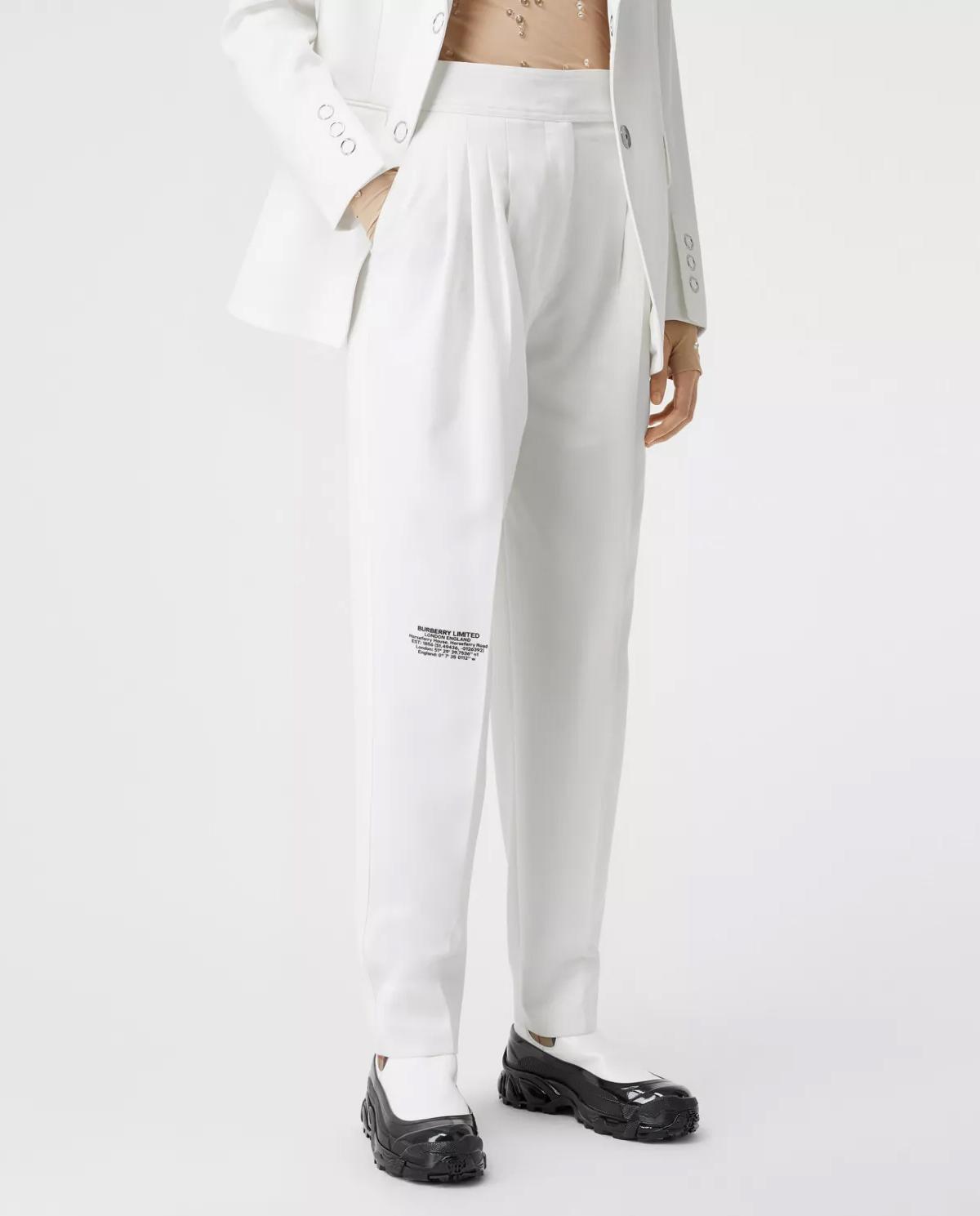 Białe spodnie z nadrukiem Burberry W8024476 A1462