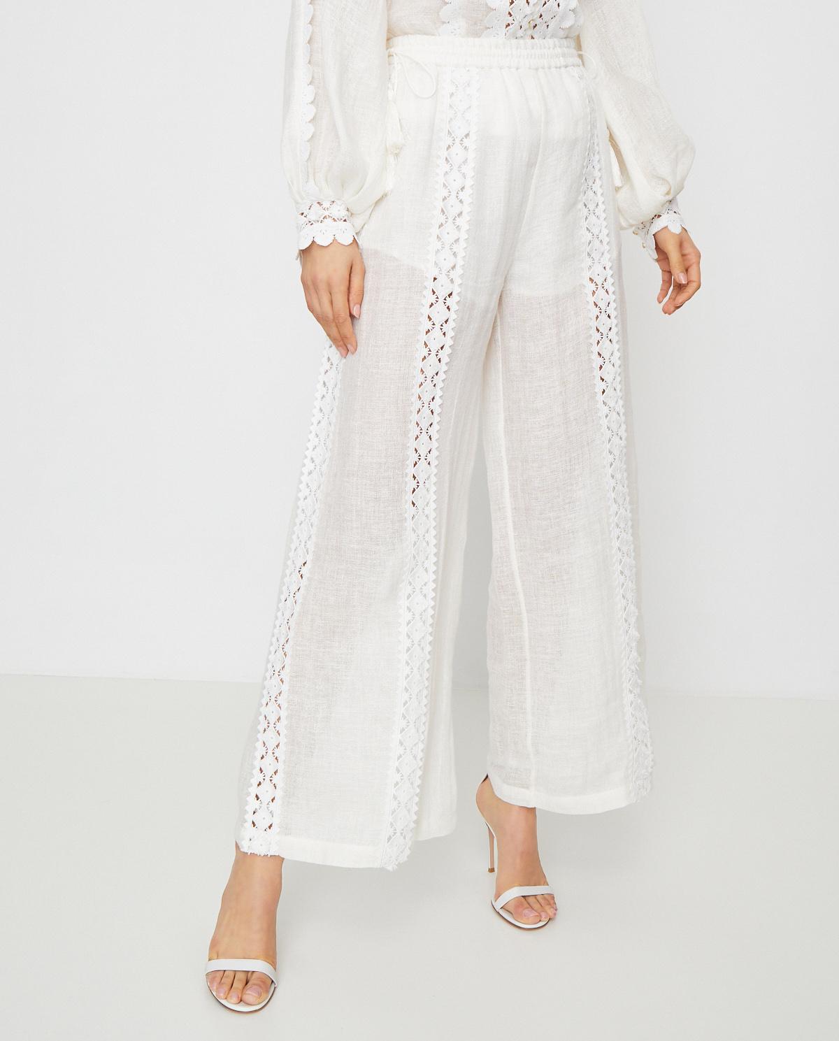 Lniane spodnie Demir Ixiah 92-70110 WHITE