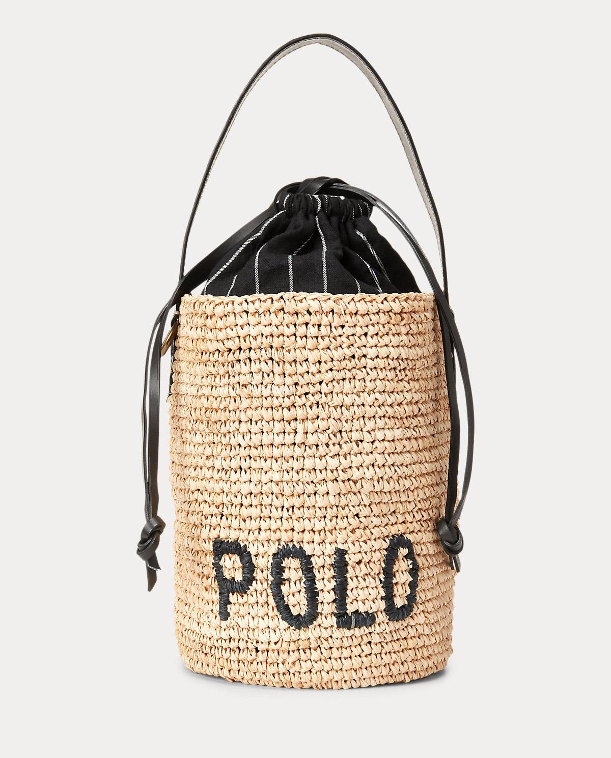Pleciona torebka z rafii Mini Bucket Polo Ralph Lauren 428798023001