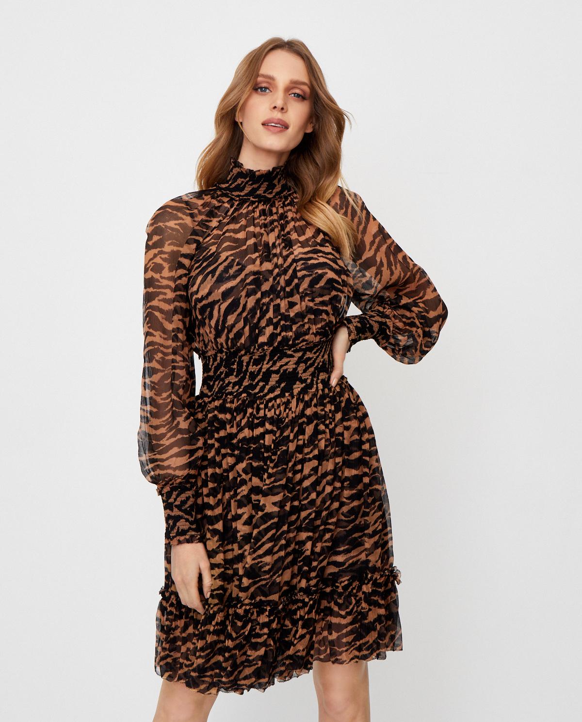 Jedwabna sukienka w zwierzęcy wzór Zimmermann 8124DWAV.SUMST