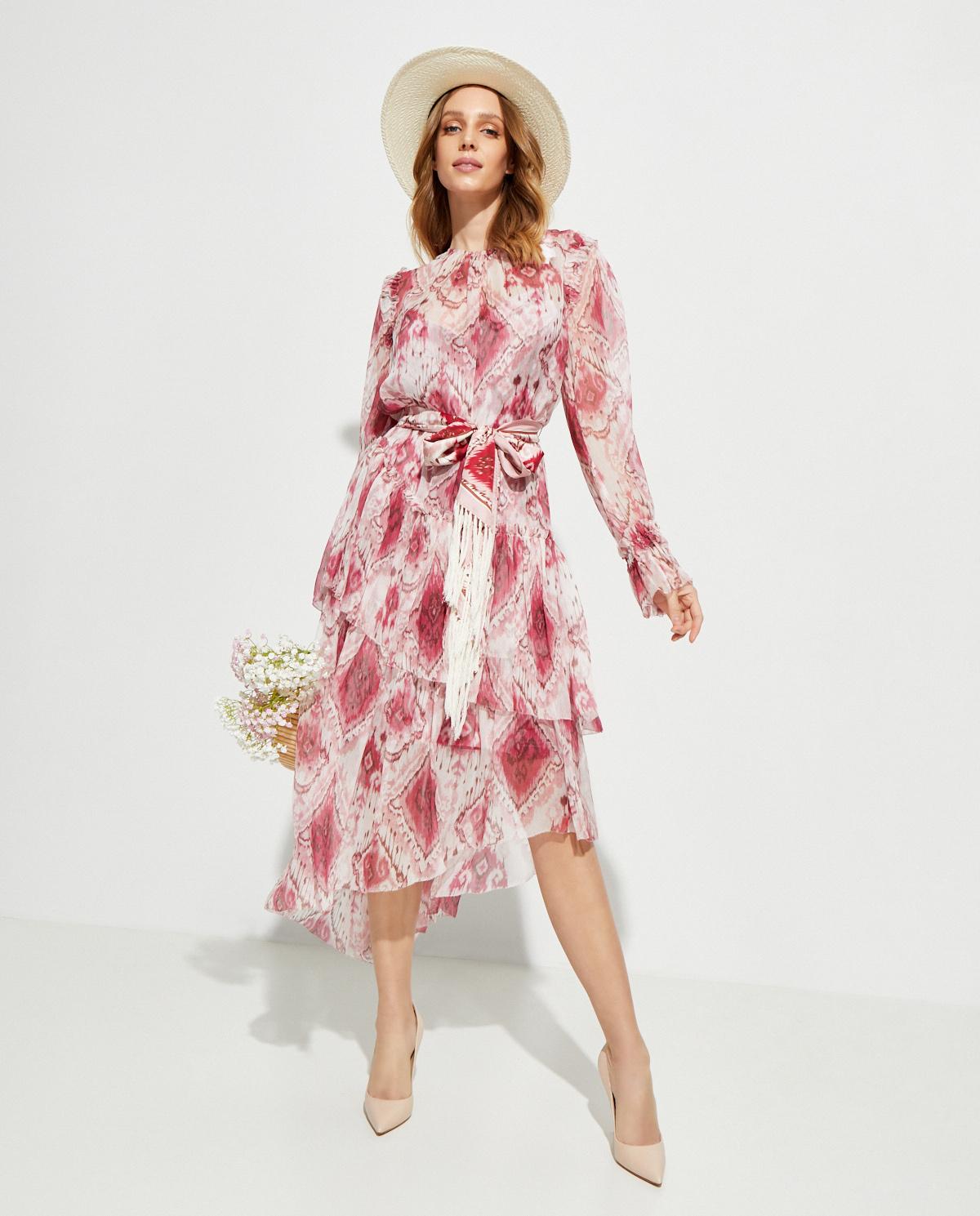 Różowa asymetryczna sukienka Zimmermann 7990DWAV.RIKT