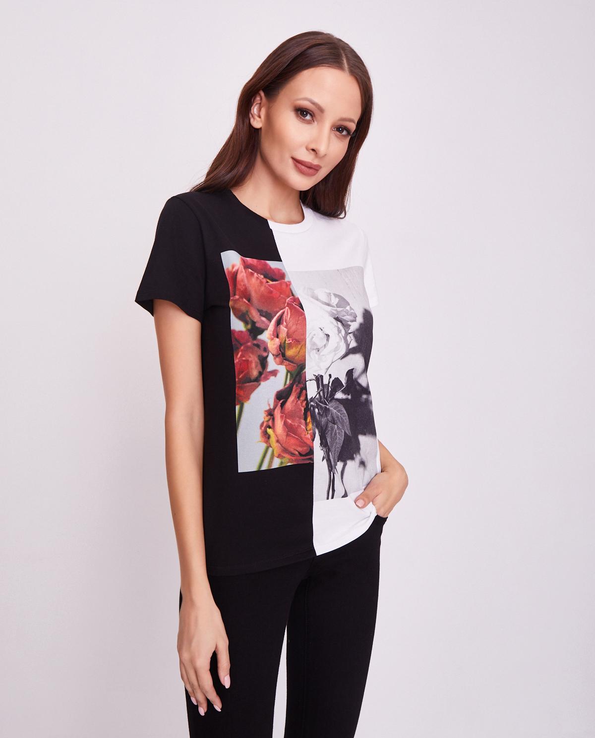 Dwukolorowy t-shirt z logo Alexander McQueen 610881 QZAAY 0520