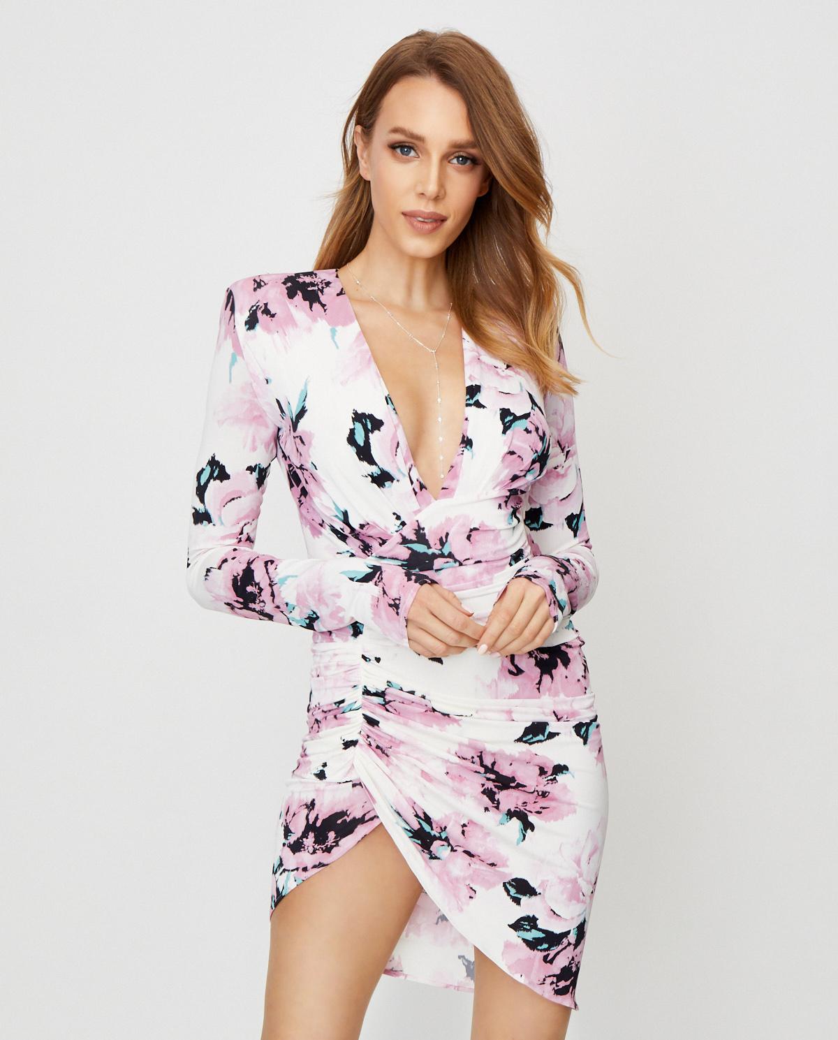 Sukienka z kwiatowym wzorem Alexandre Vauthier 202DR1109 0201-1215 PINK