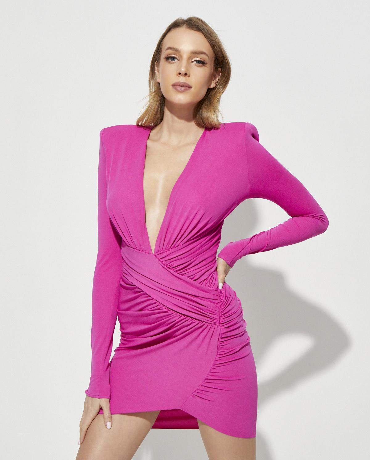 Różowa sukienka mini Alexandre Vauthier 202DR1280 1029-202 FUCHSIA
