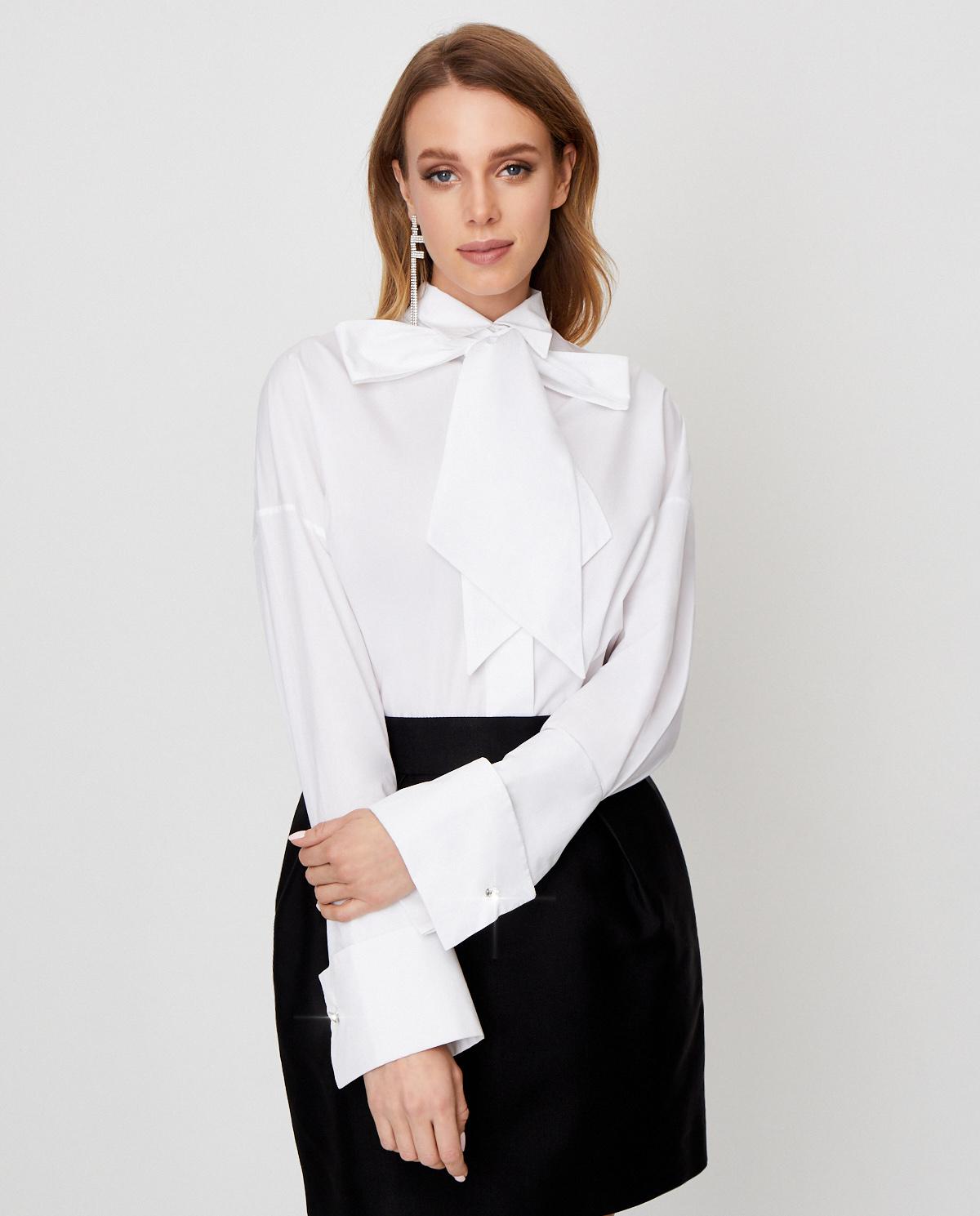 Biała koszula z wiązaniem Alexandre Vauthier 194SH1151 0192-1030 WHITE