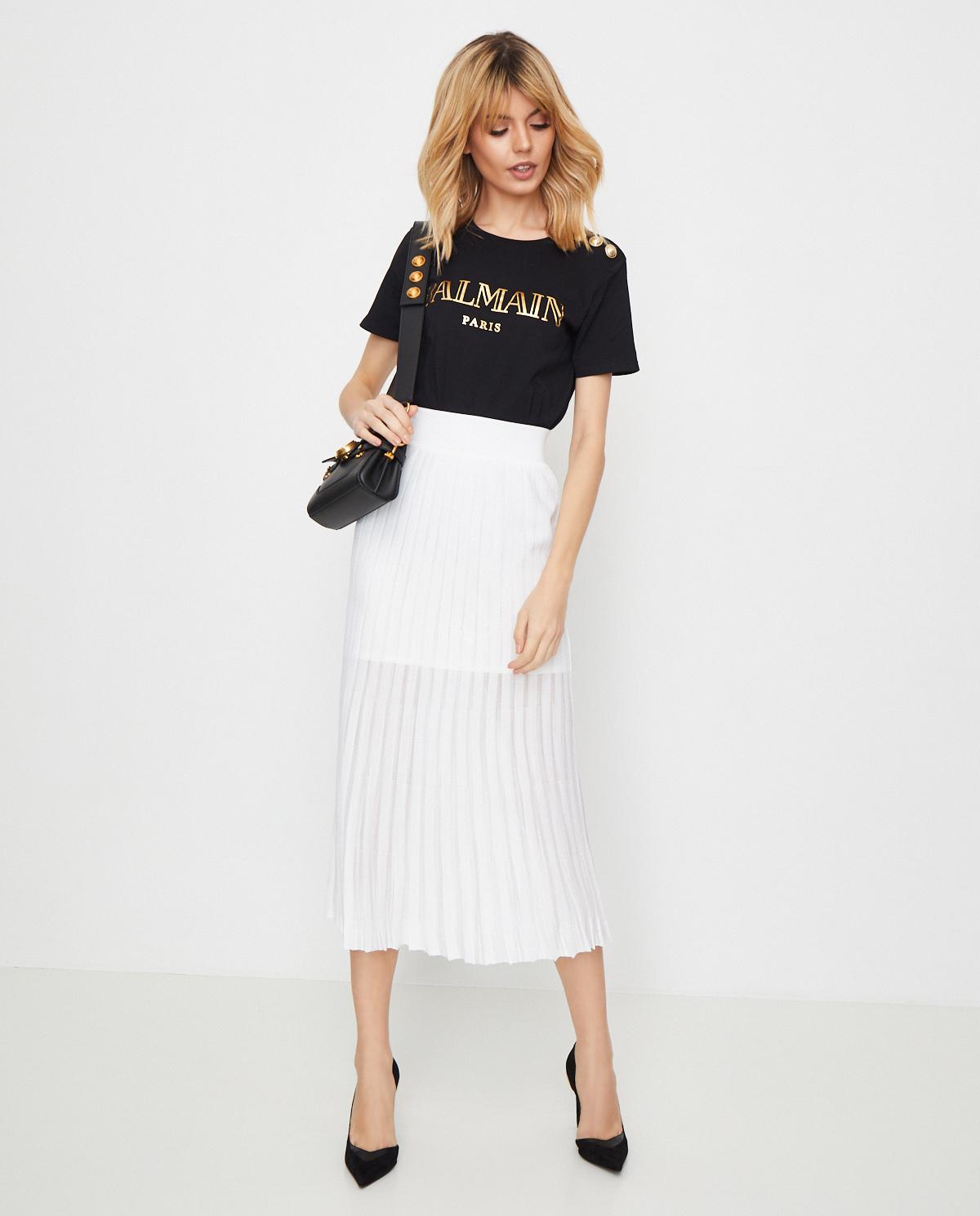 Plisowana spódnica w kolorze białym Balmain TF04476K078 0FA