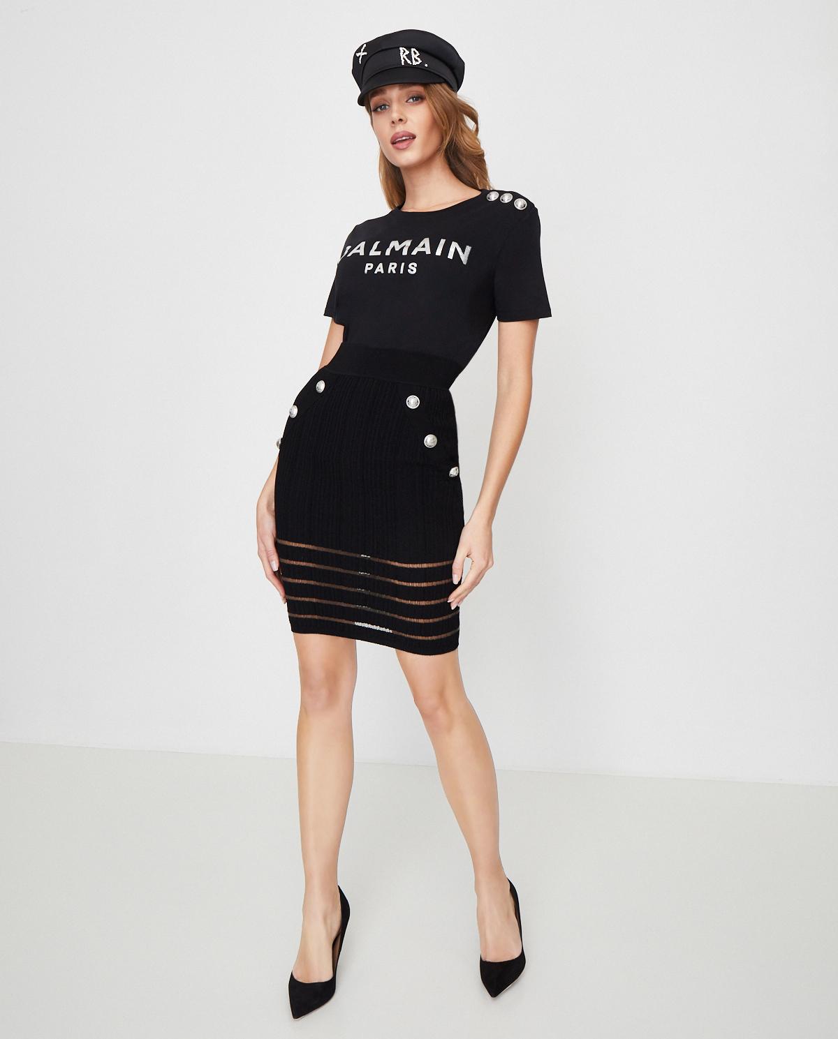 Czarna spódnica mini z guzikami Balmain TF04309K063 0PA