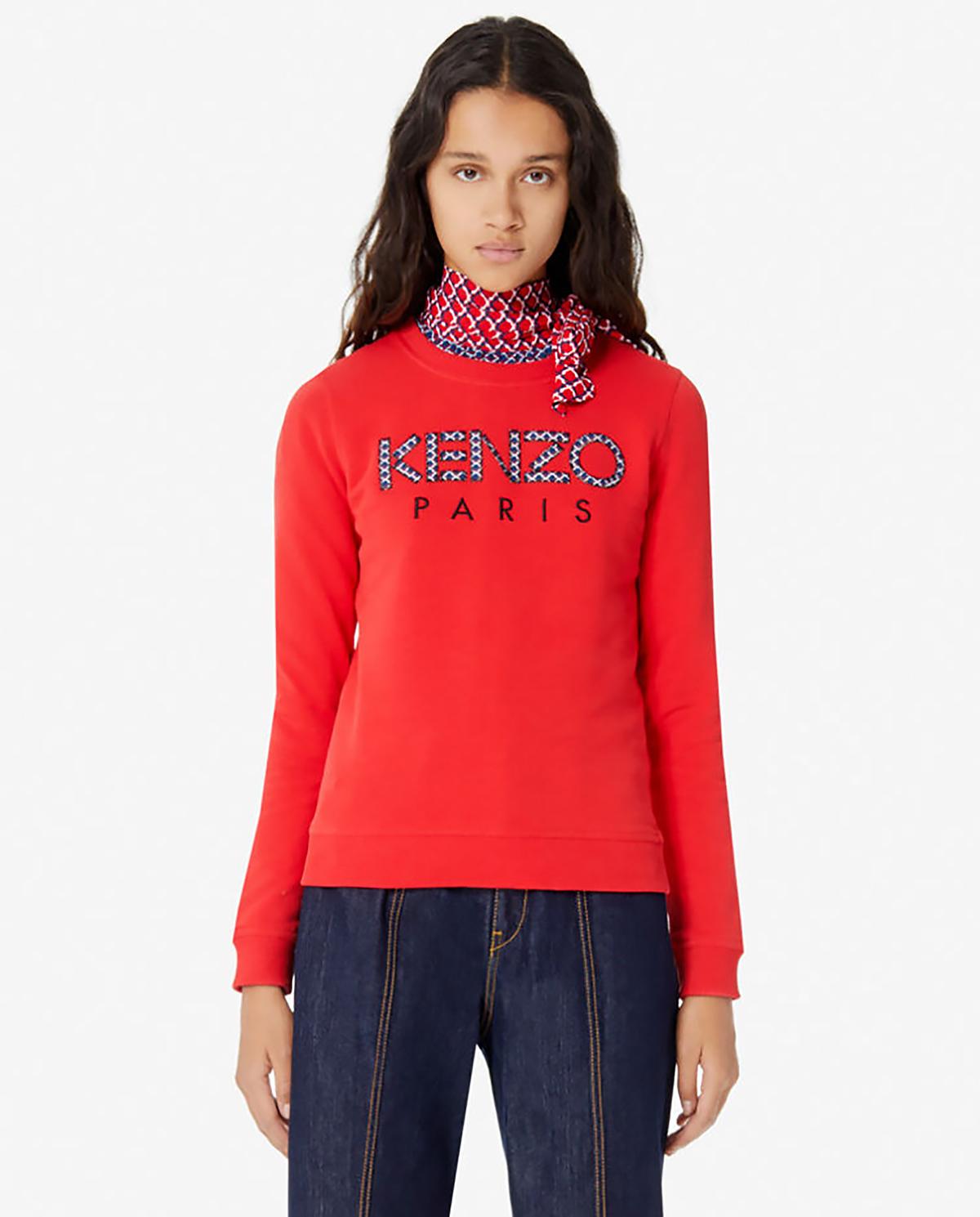 Czerwona bluza z logo Kenzo PFA52SW707962 21