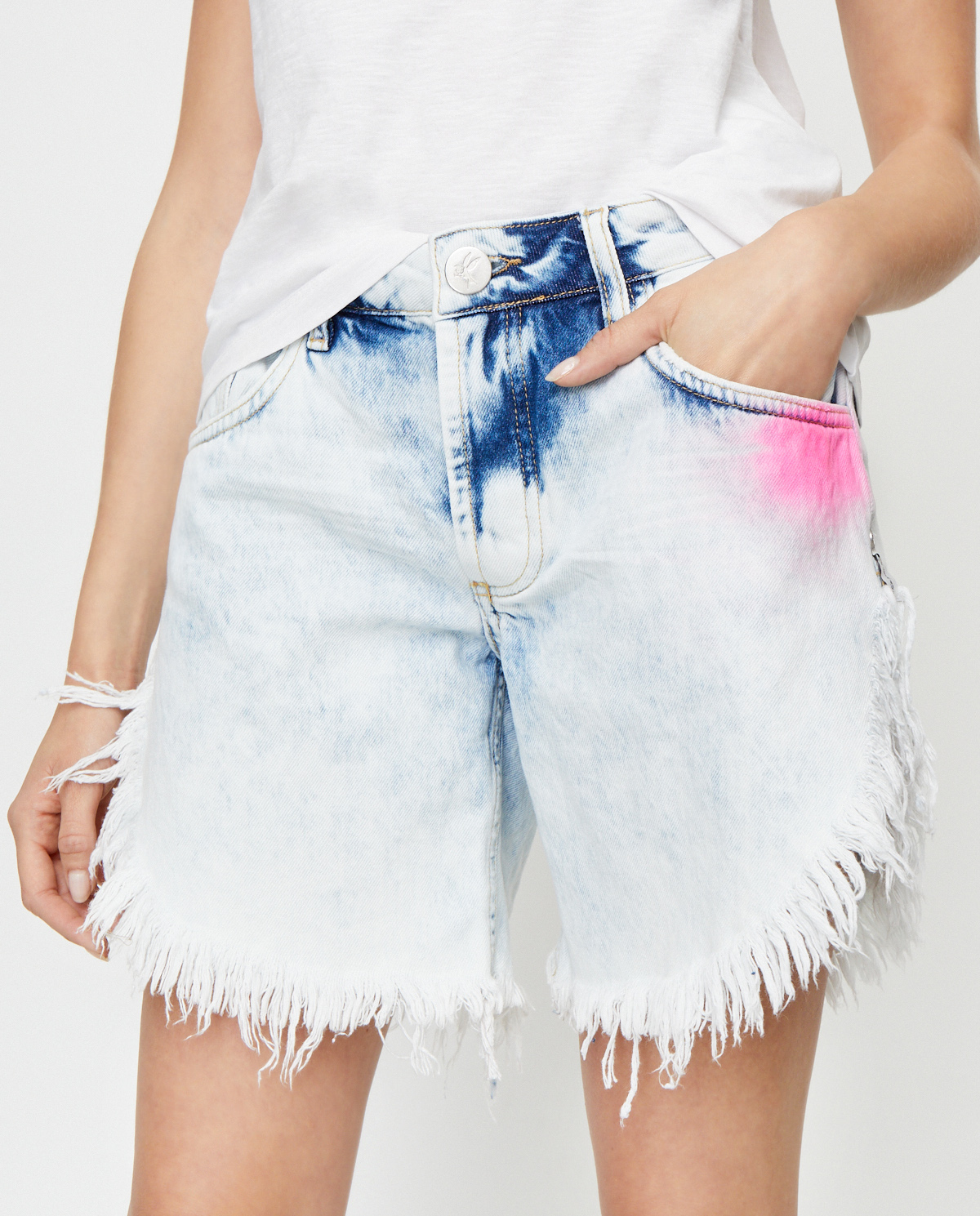 Damskie niebieskie szorty z frędzlami Frankies oneteaspoon 23363 CLASSIC