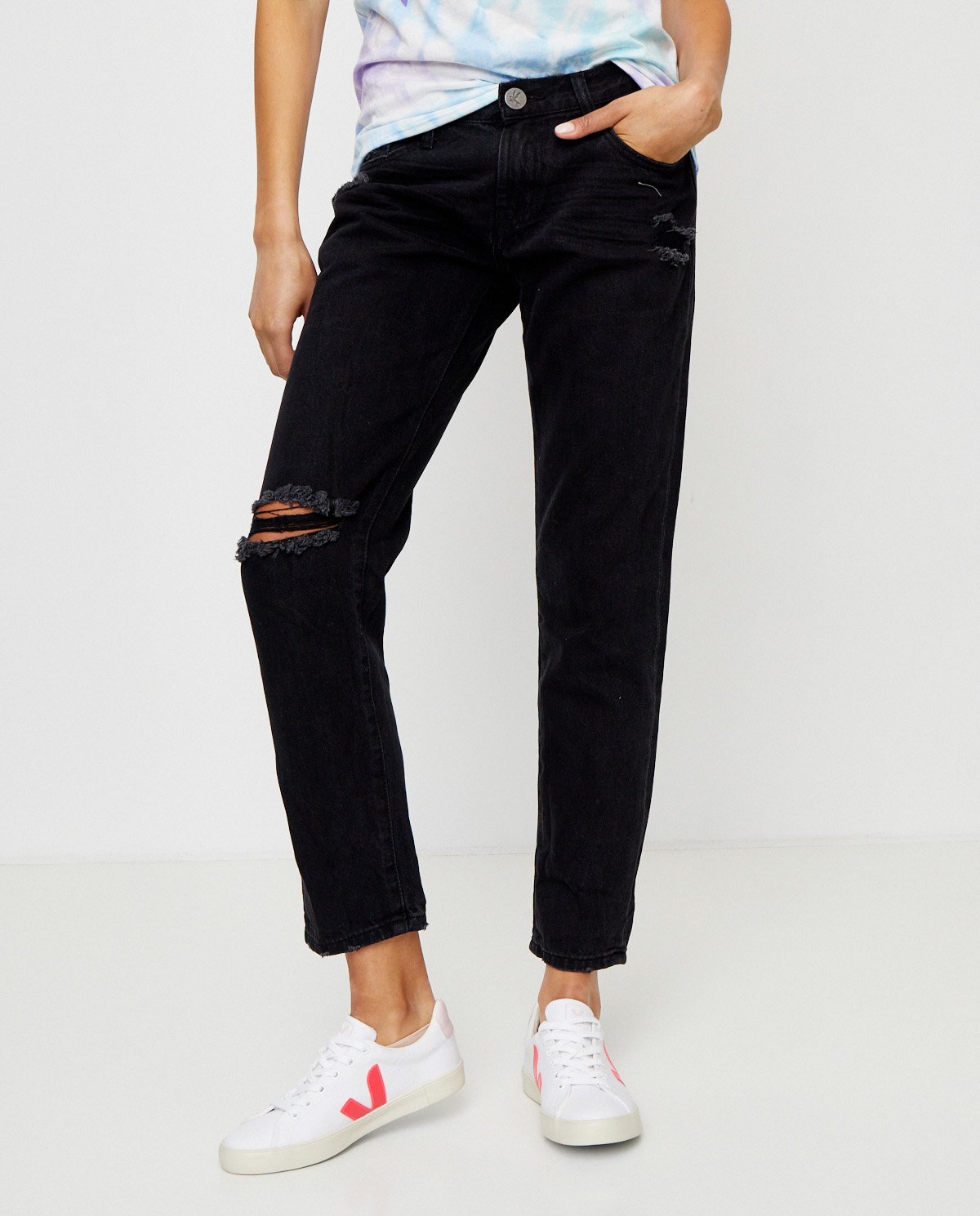 Damskie jeansy Awesome Baggies oneteaspoon 22589 DOUBLE BLK