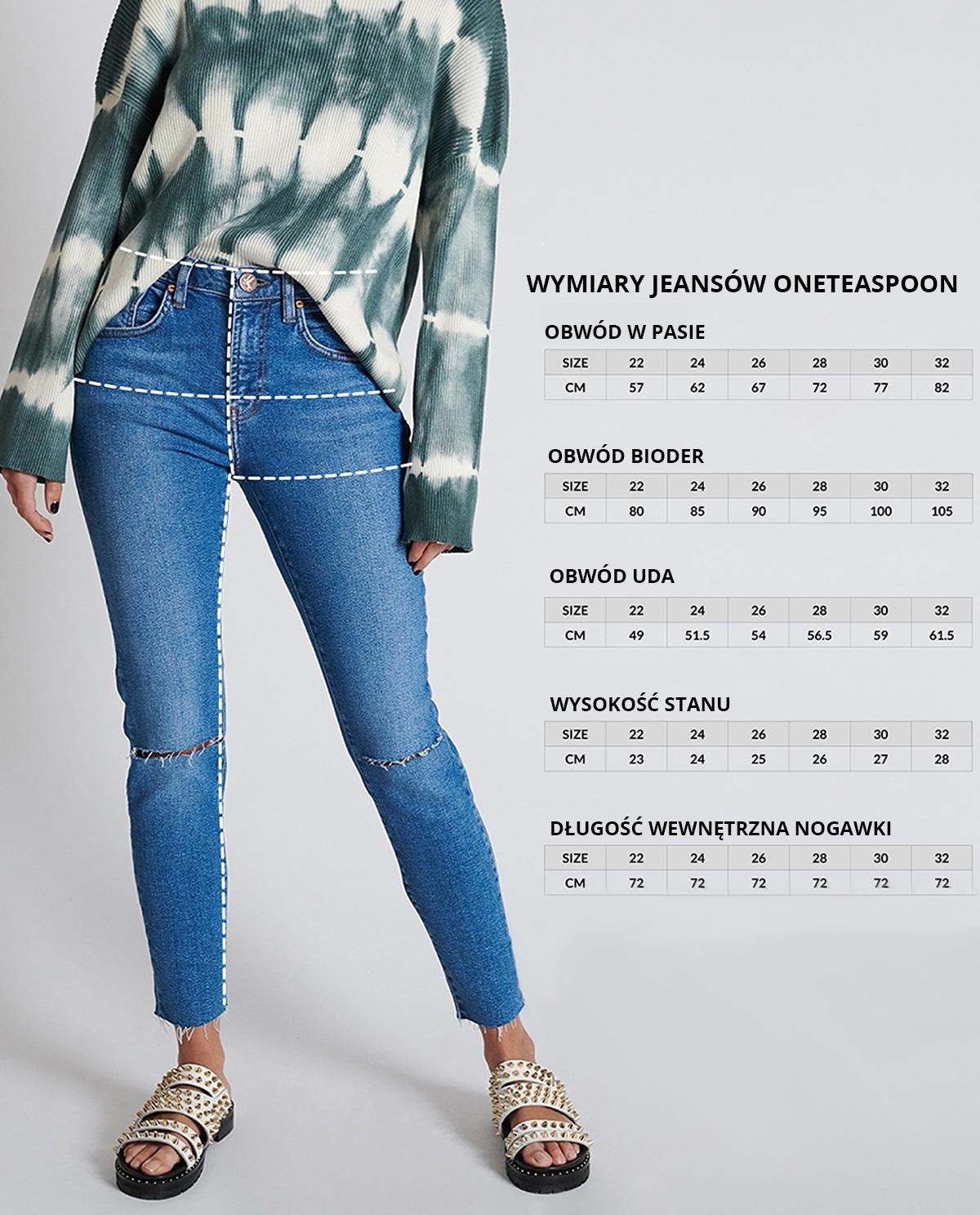 jeansy freebirds ii oneteaspoon wymiary