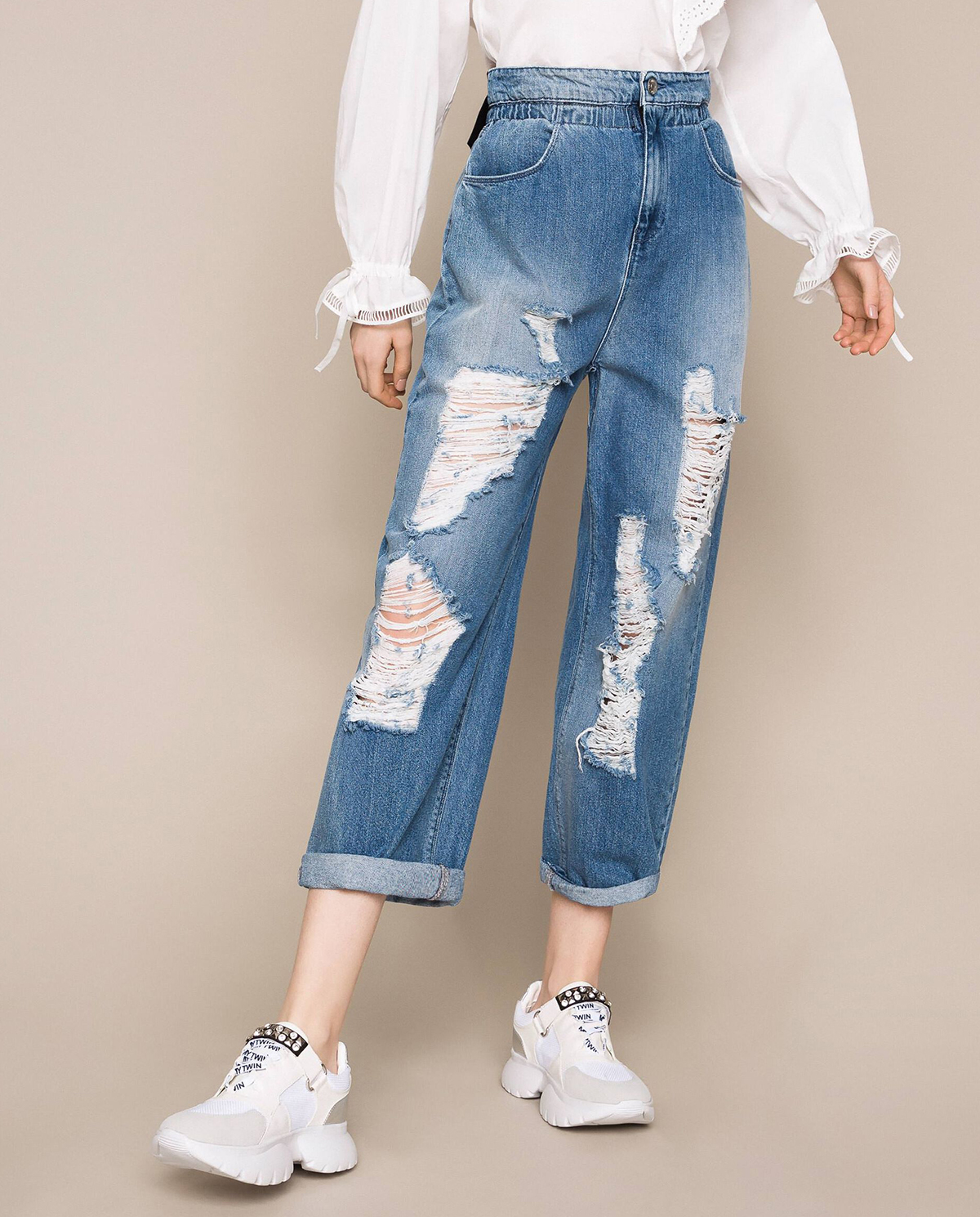 Damskie jeansy z dziurami loose fit twinset 201MT2344 01104