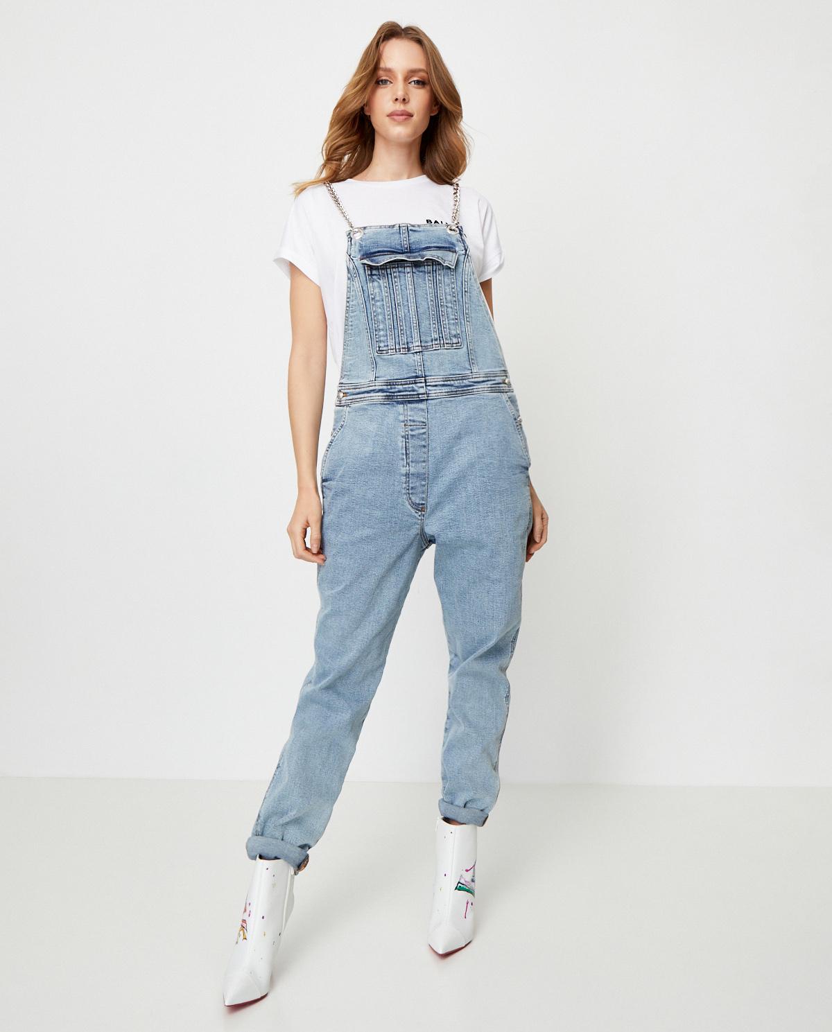 Damskie jeansowe ogrodniczki Balmain SF15865D068 SAB
