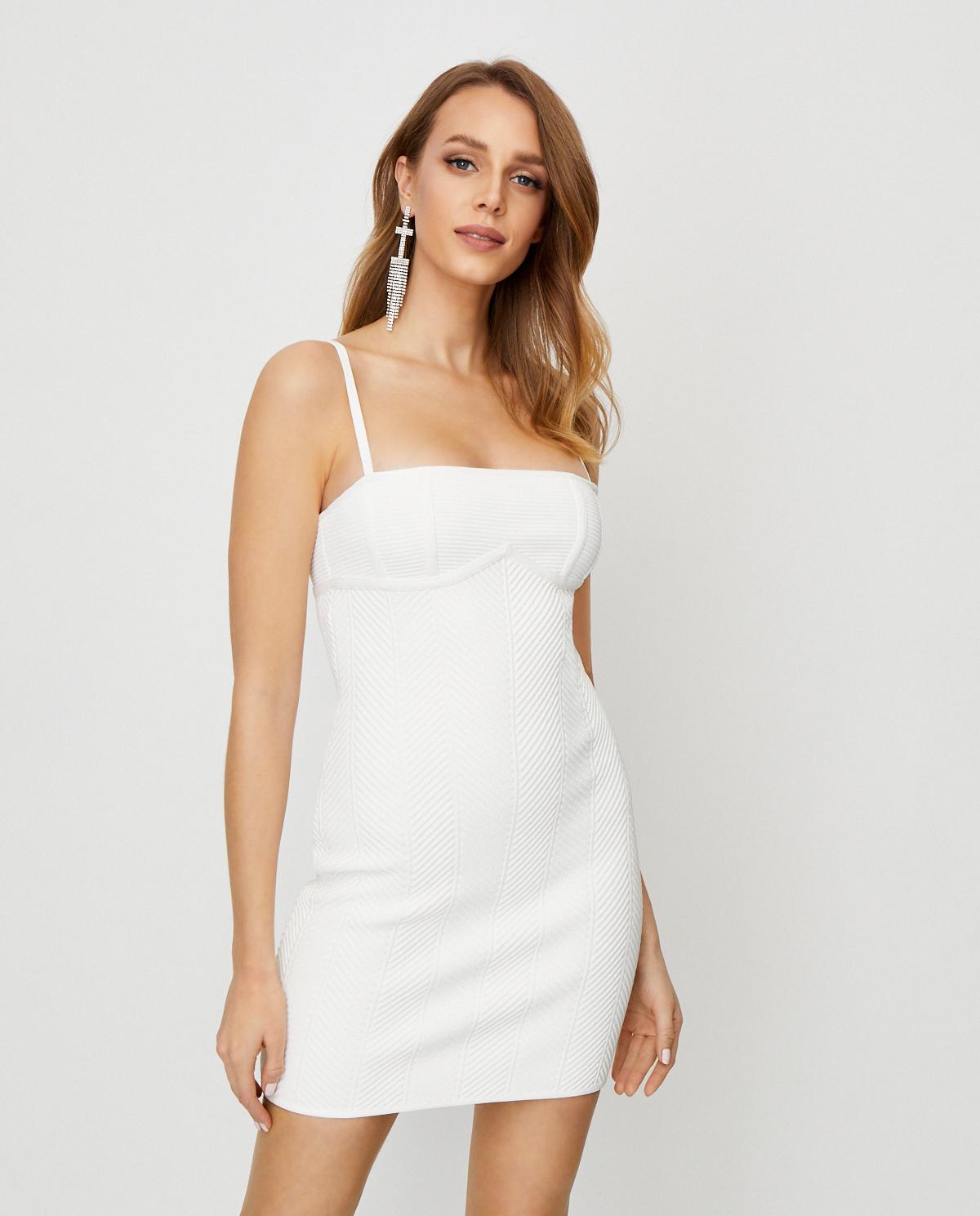 Biała sukienka na ramiączkach Herve Leger 46CNT8284834-902