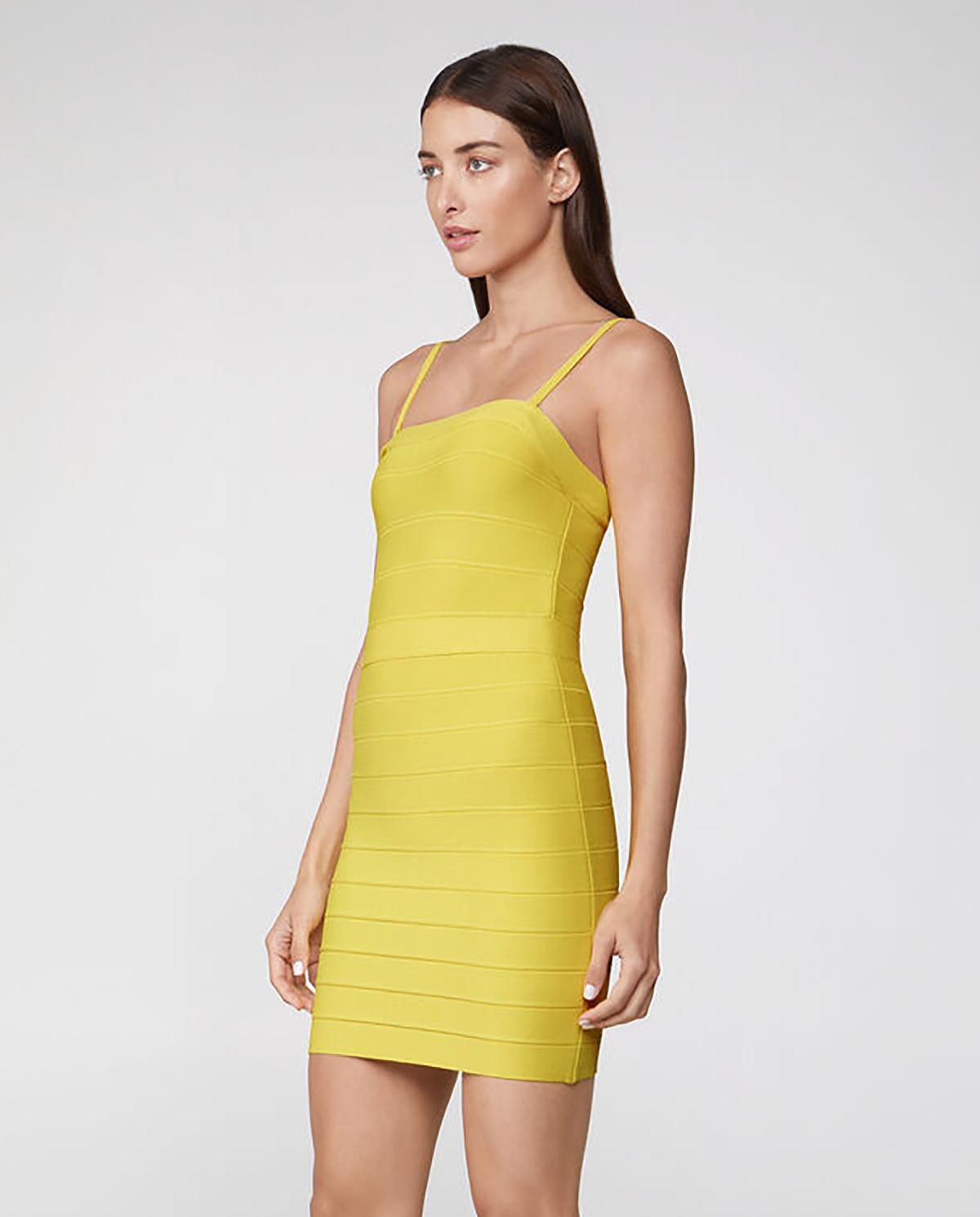 Żółta sukienka na ramiączkach Herve Leger 46HLT8269900-755