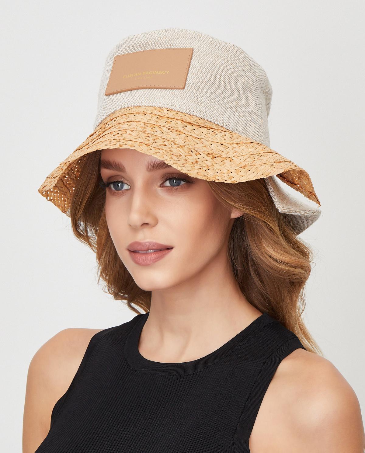 Damski beżowy kapelusz z naszywką BCT036-STR-L-C BEIGE Ruslan Baginskiy