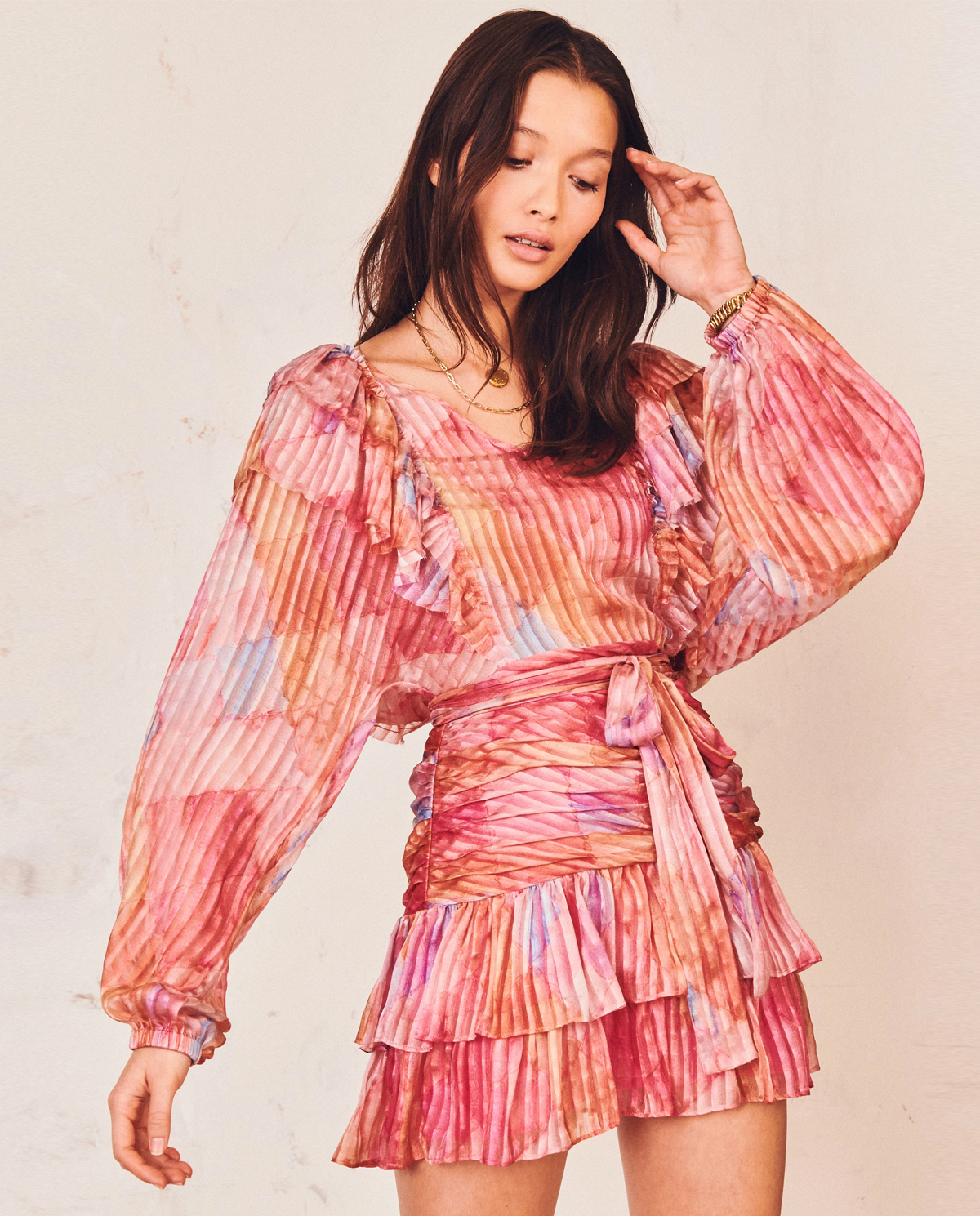 Damska sukienka mini z jedwabiu Moxie LD719-564 RAINC