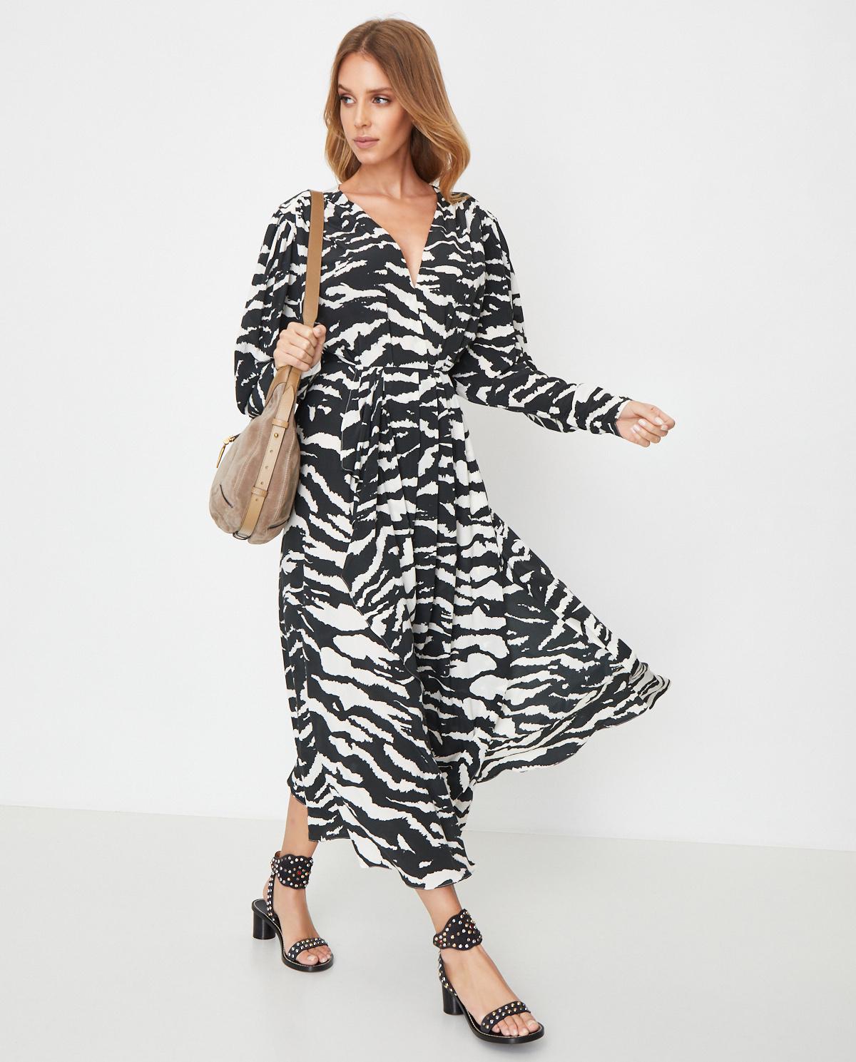 Jedwabna sukienka ze wzorem zebry Isabel Marant RO1541-20P020I 01BK
