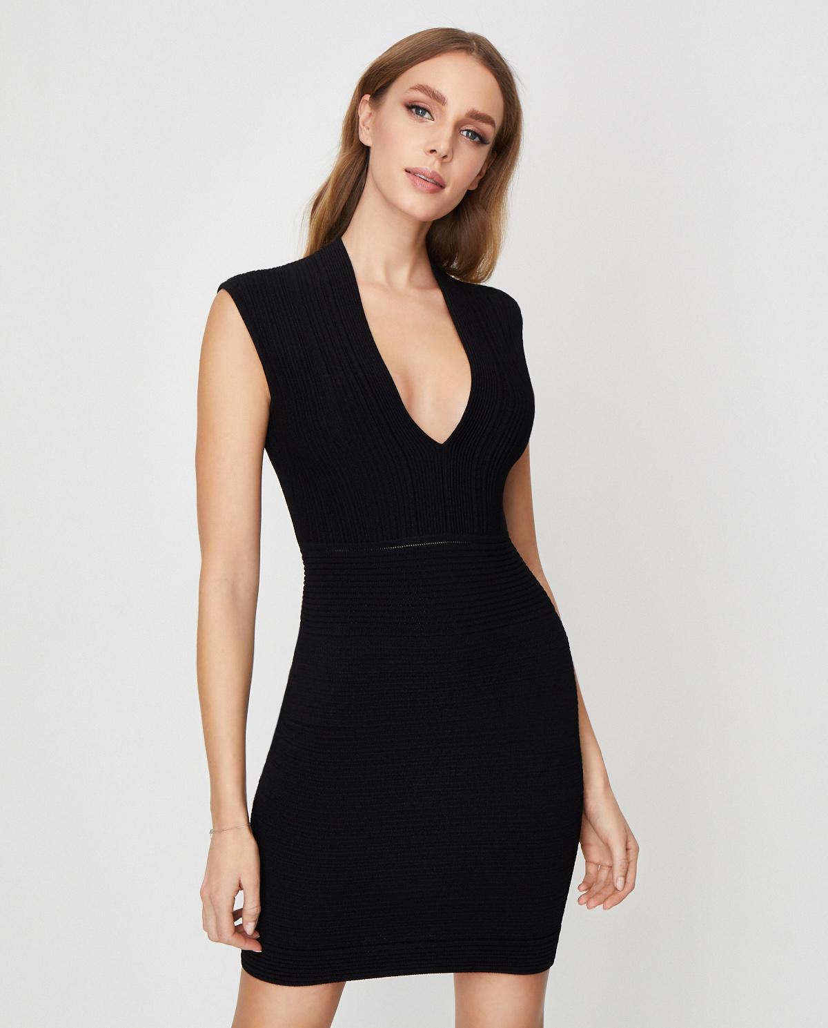 Czarna sukienka mini Balmain TF06089K063 0PA