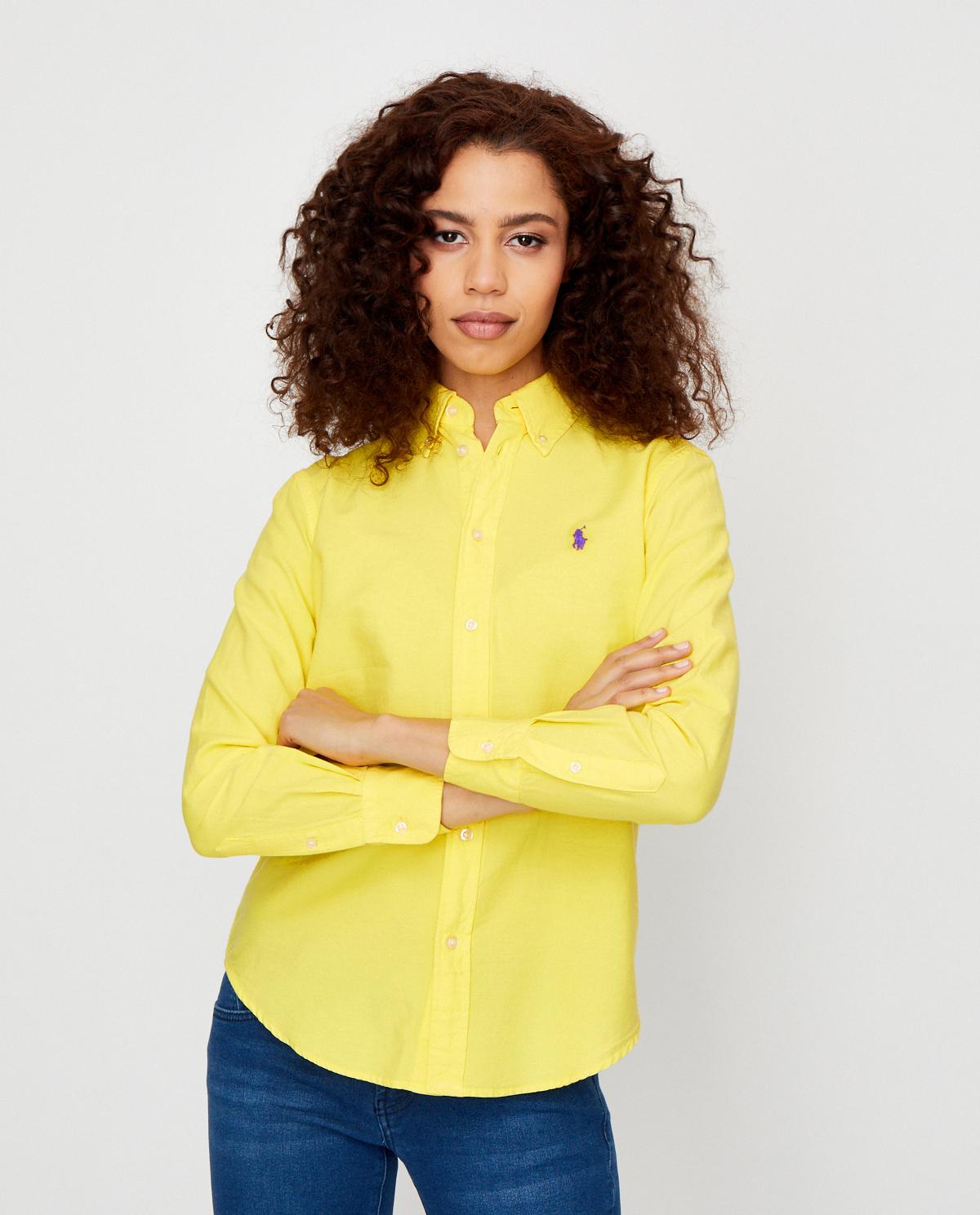 Damska żółta koszula z bawełny Relaxed Fit Polo Ralph Lauren 211780679003
