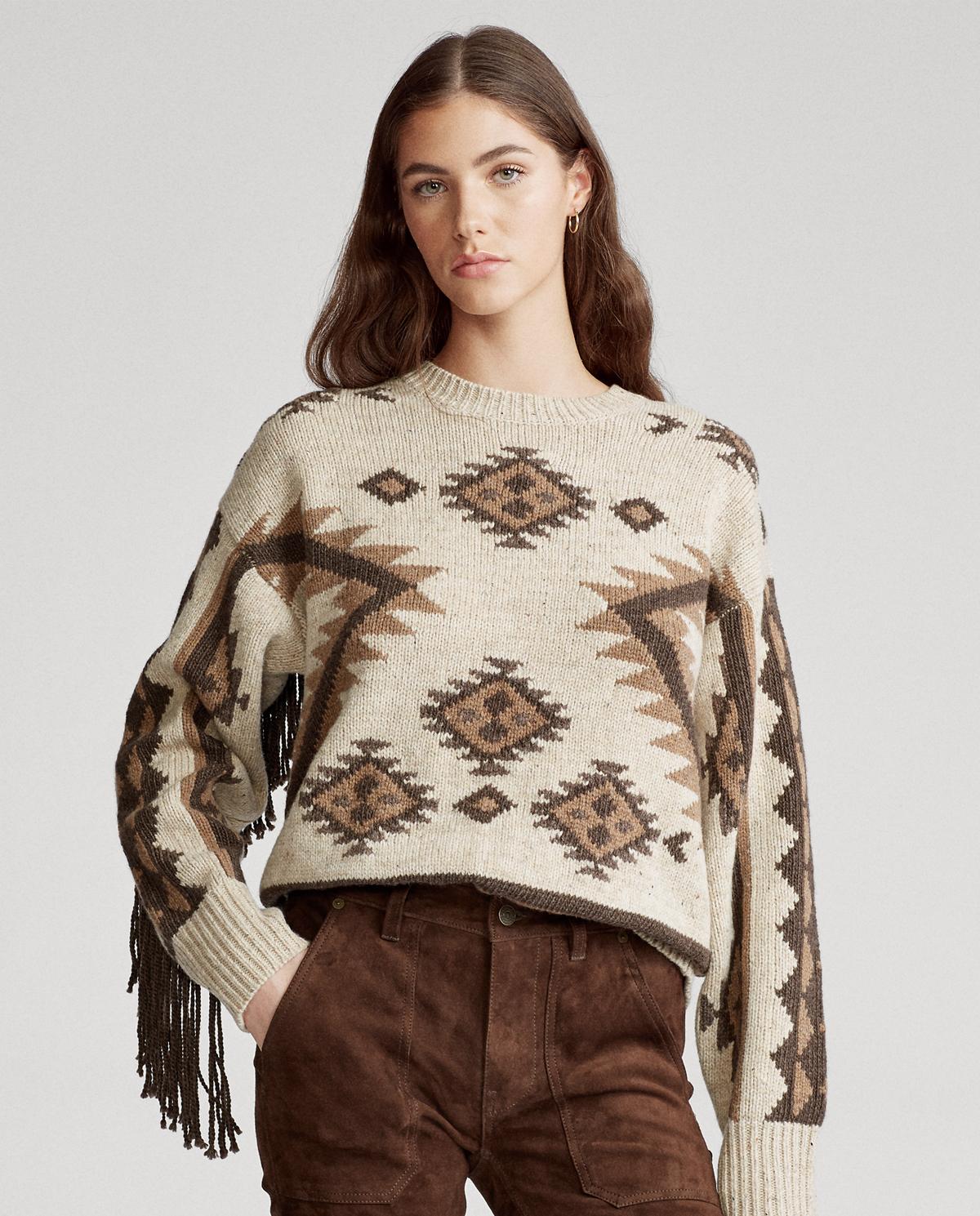 Damski wełniany sweter z frędzlami Polo Ralph Lauren 211782415001