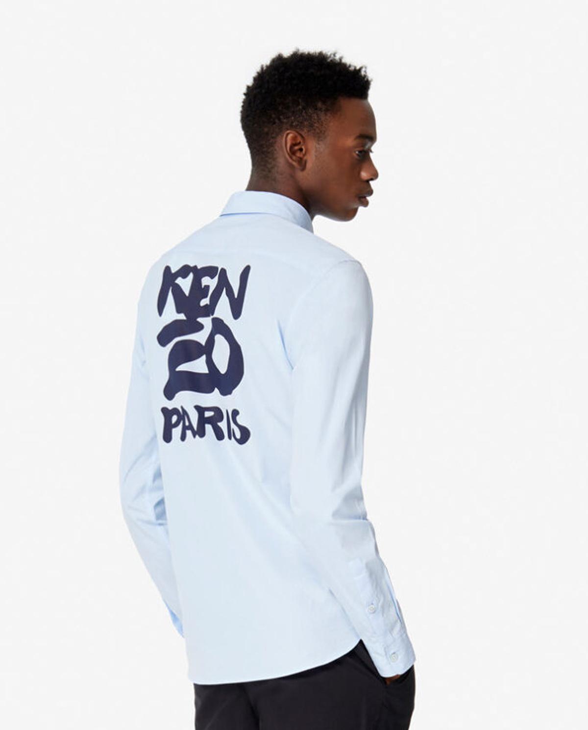 Męska niebieska koszula Slim Fit z logo Kenzo PFA55CH2151FA 65