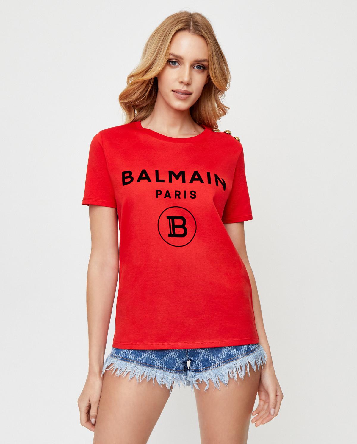 Damska czerwona koszulka z logo Balmain UF11350I386 MAB
