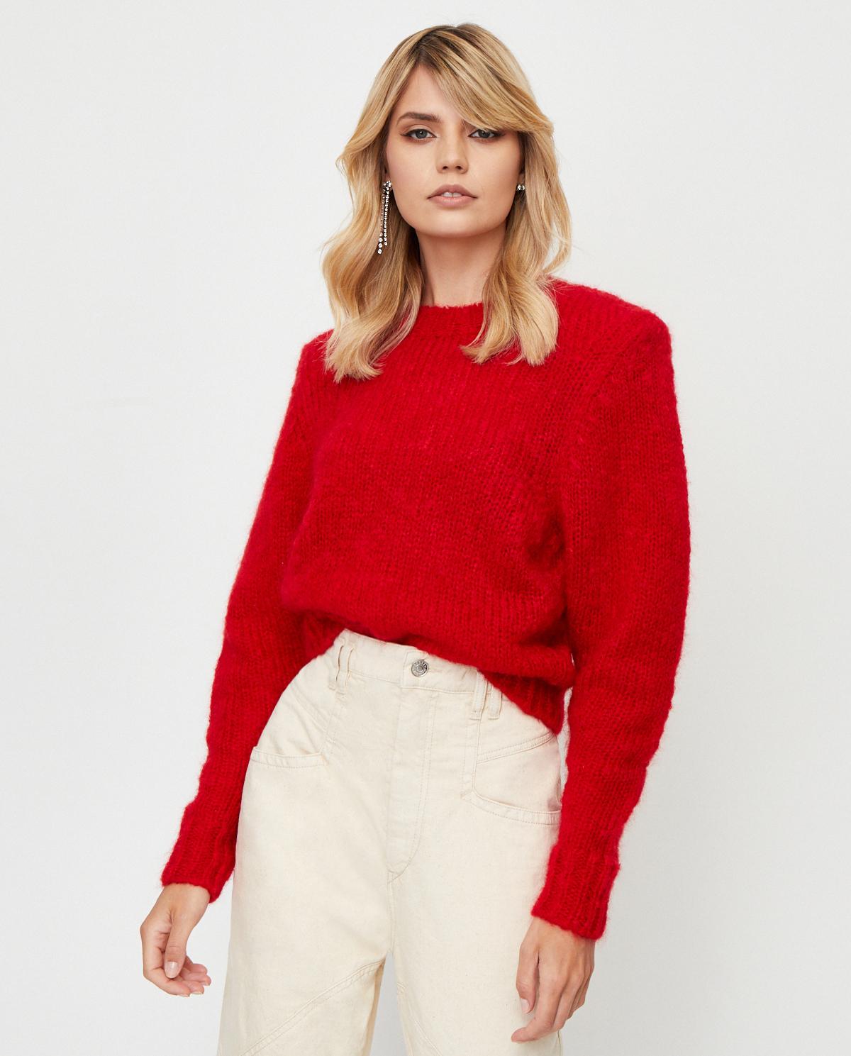 Damski czerwony sweter Idona Isabel Marant PU1256-20P041I 70RD