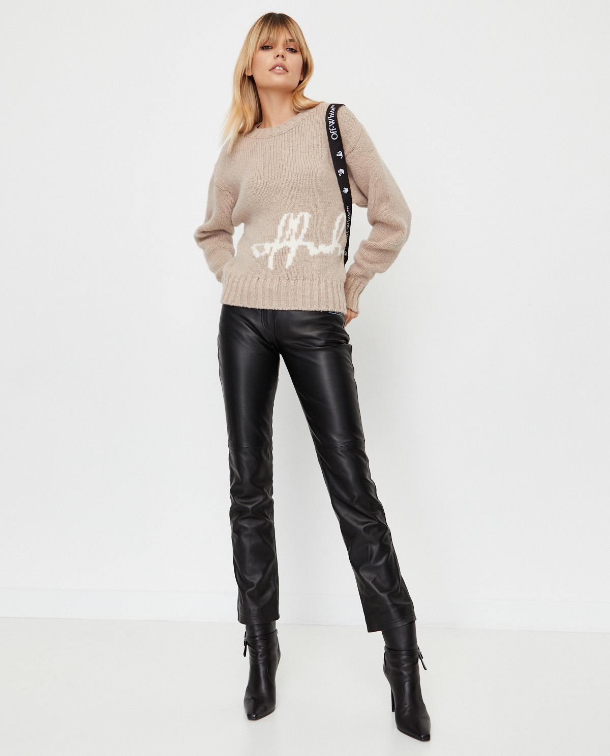 damski sweter Off-White w kolorze beżowym OWHE036E20KNI0036201