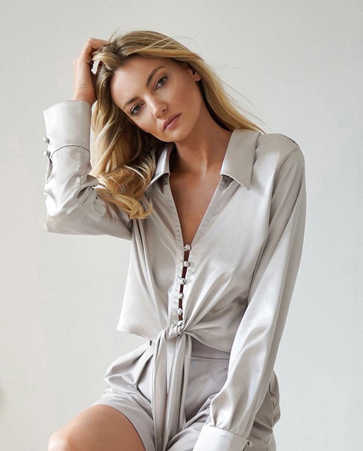 srebrna koszula AMIRA marki Dollina AMI/SAT/SILVER SILVER GRAY
