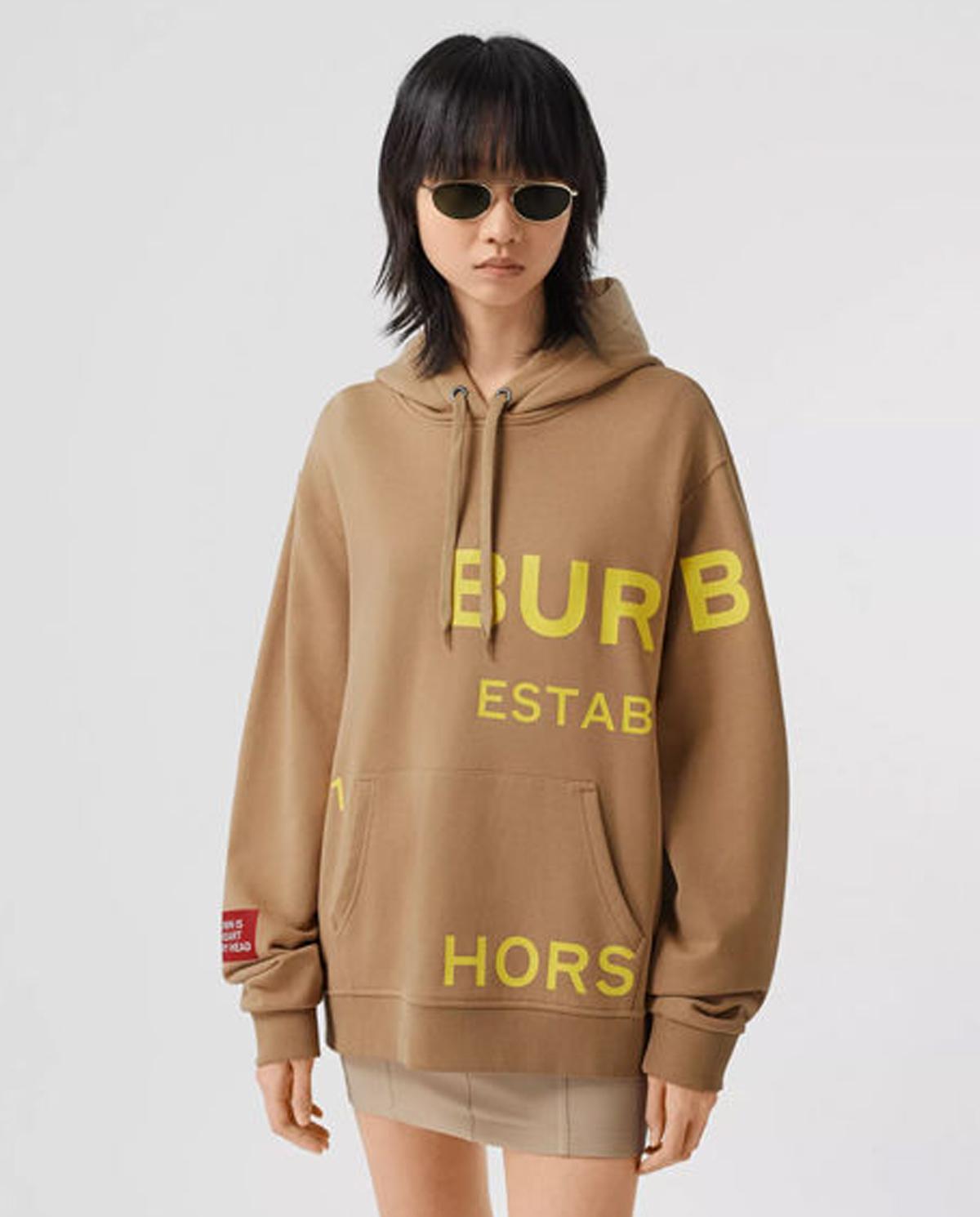beżowa bluza z nadrukami marki Burberry W8030804 A7026