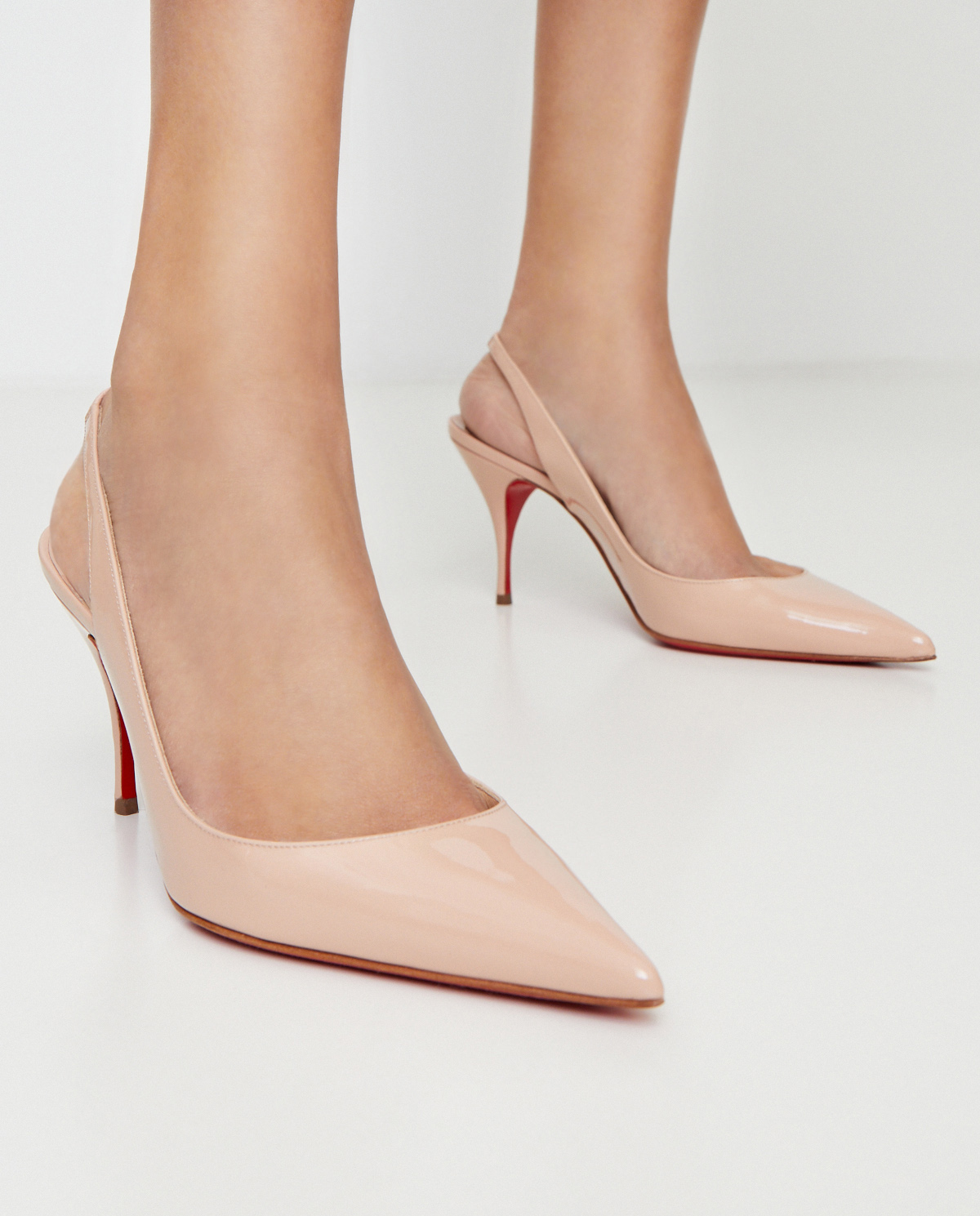 Beżowe szpilki Clare Sling Christian Louboutin 1190842 CLARE SLING 80 F401