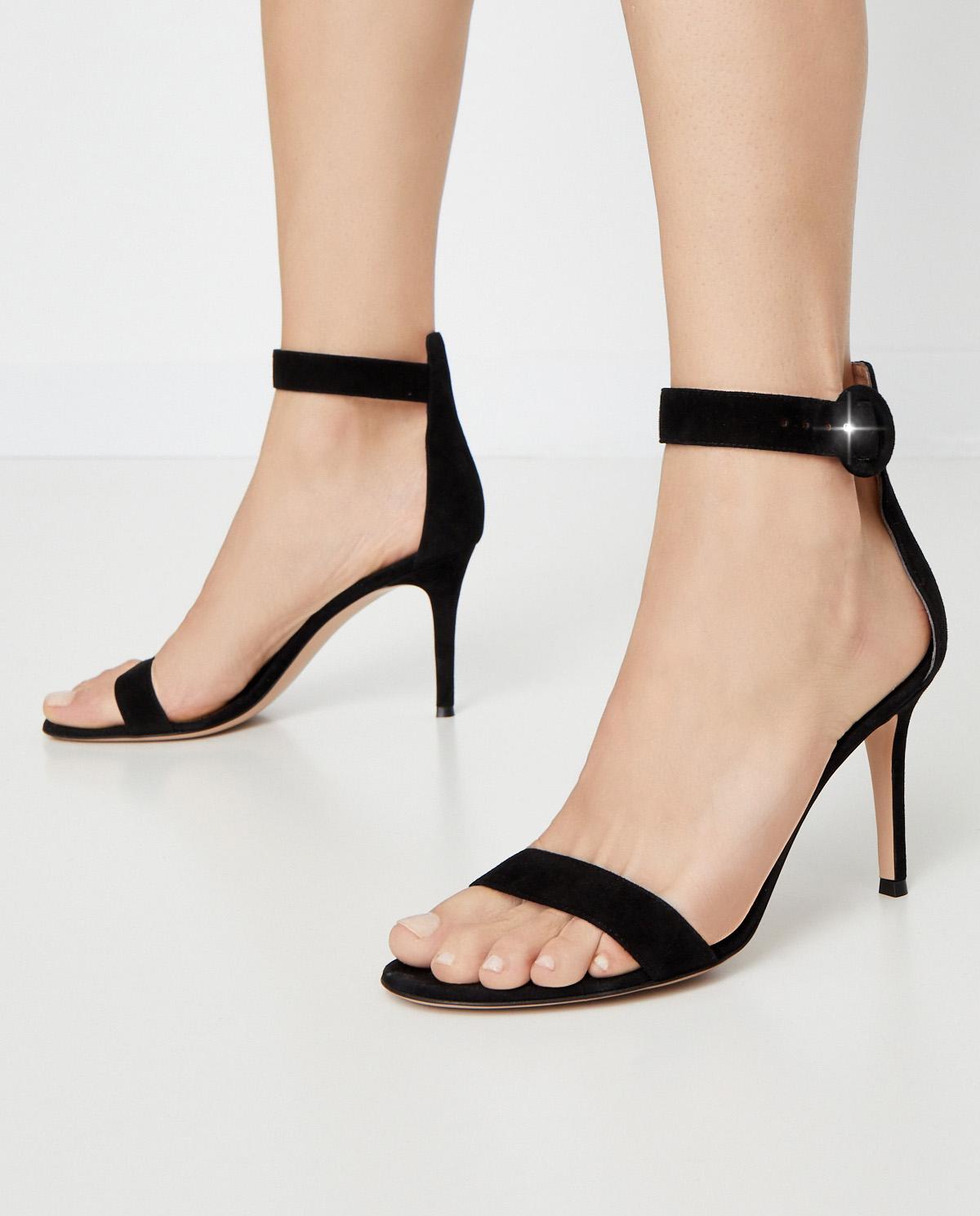 Czarne sandały Portofino Gianvito Rossi G60953.85RIC.CAMNERO