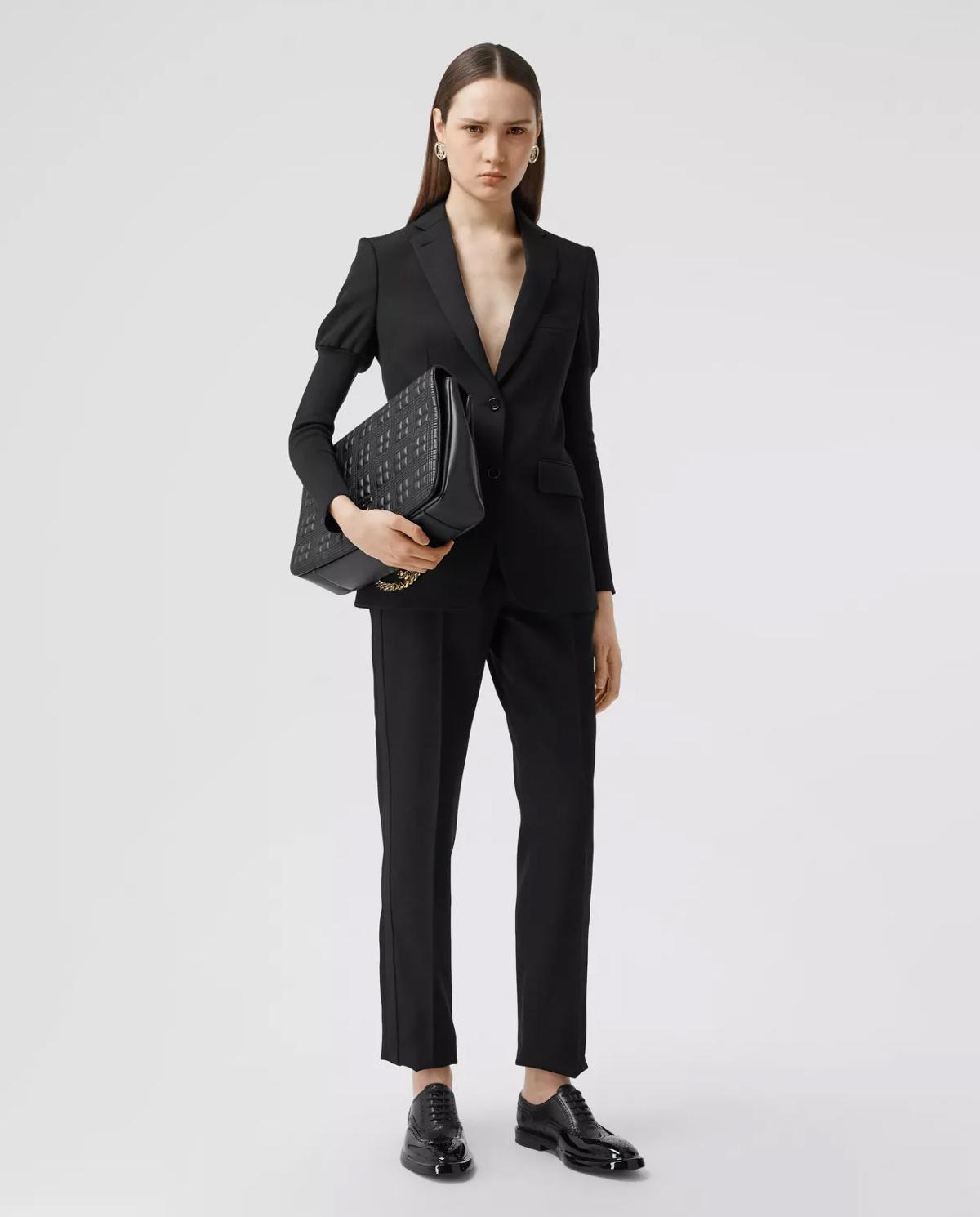 Damskie czarne spodnie z wełny Burberry W8031151 A1189