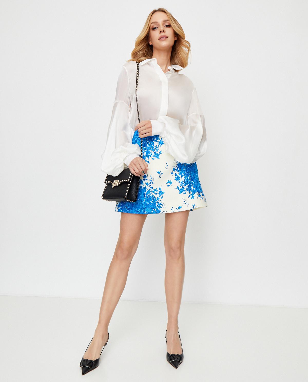 Damska biała spódnica w kwiaty Valentino UB3RA6M55LT AB8