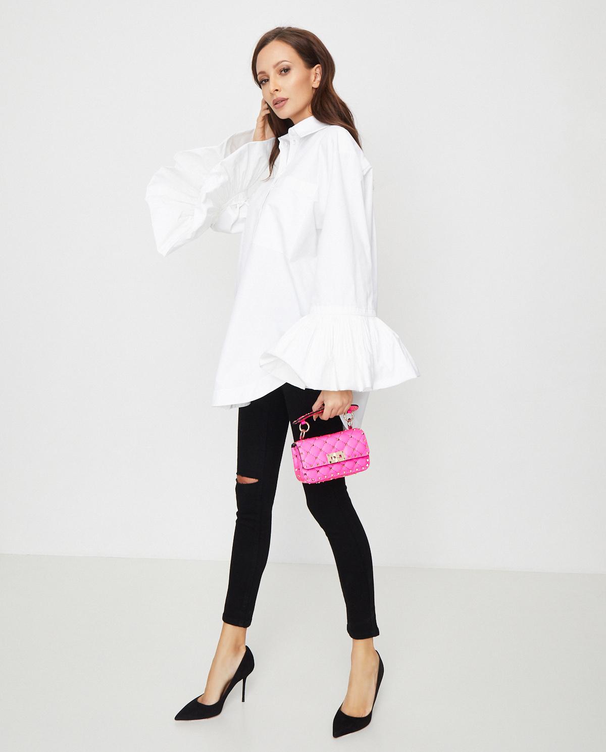 Damska biała koszula z szerokimi mankietami Valentino TB0AB1B05DN 0BO